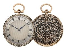 Pocket watch: magnificent gold/ enamel Lepine with rare case decoration and repeater, fine calibre