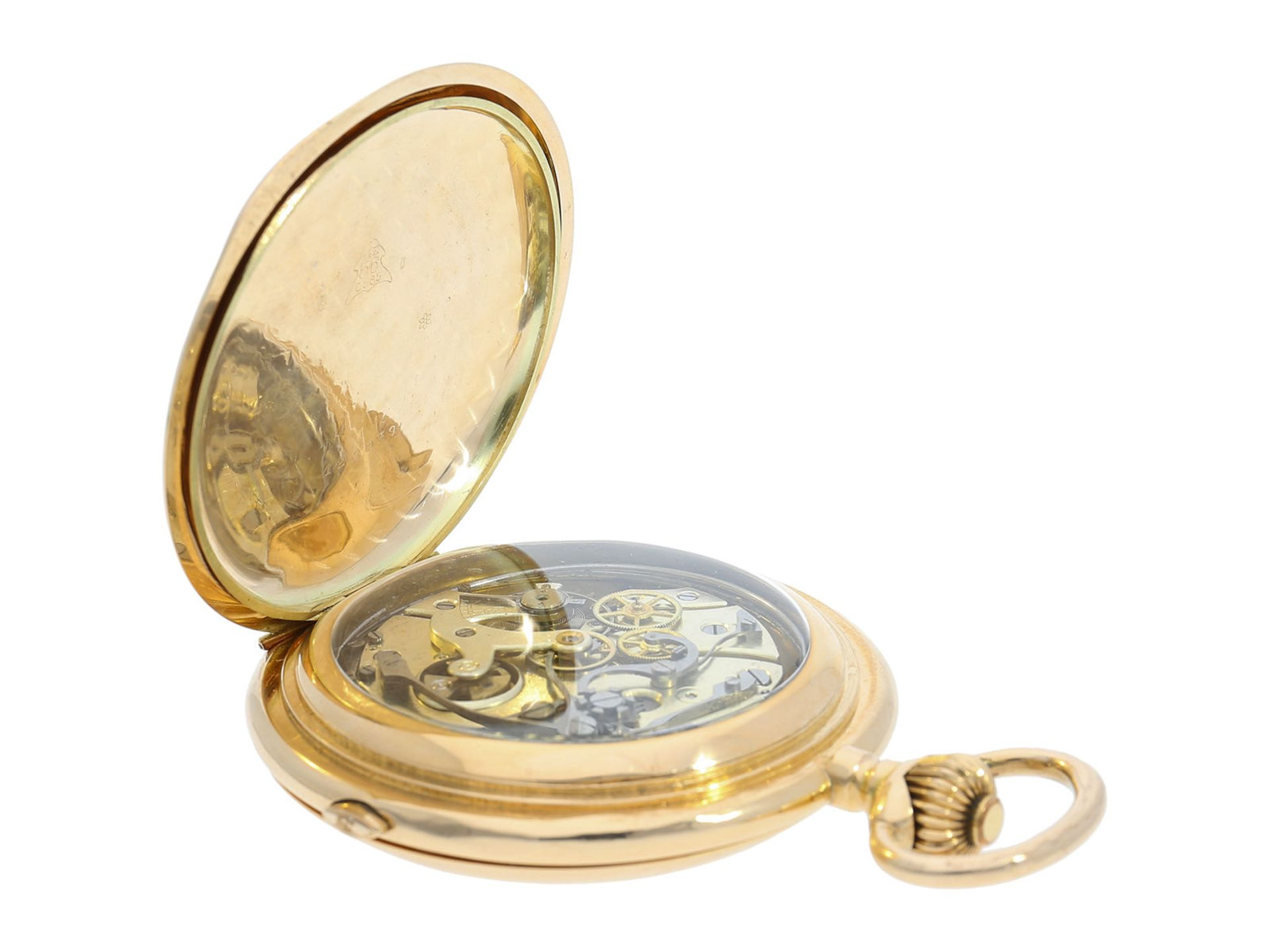 Pocket watch: especially large and heavy Swiss gold hunting case repeater with chronograph, Audemars - Bild 4 aus 8