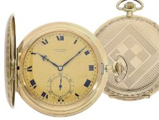 Pocket watch: especially large and elegant Art Deco gold hunting case watch in very good