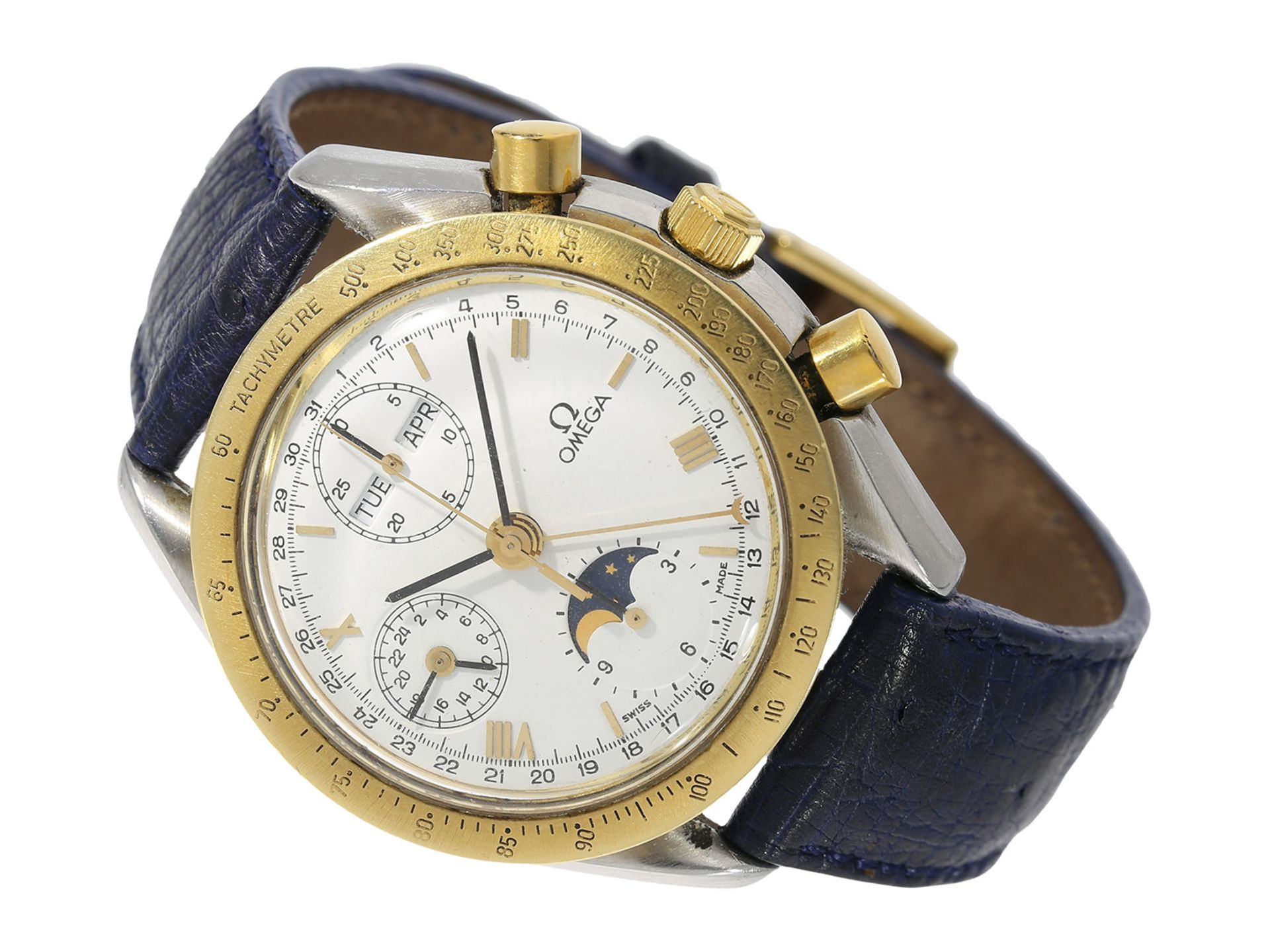 Wristwatch: rare vintage Omega chronograph with triple calendar and moon phase, Omega Speedmaster