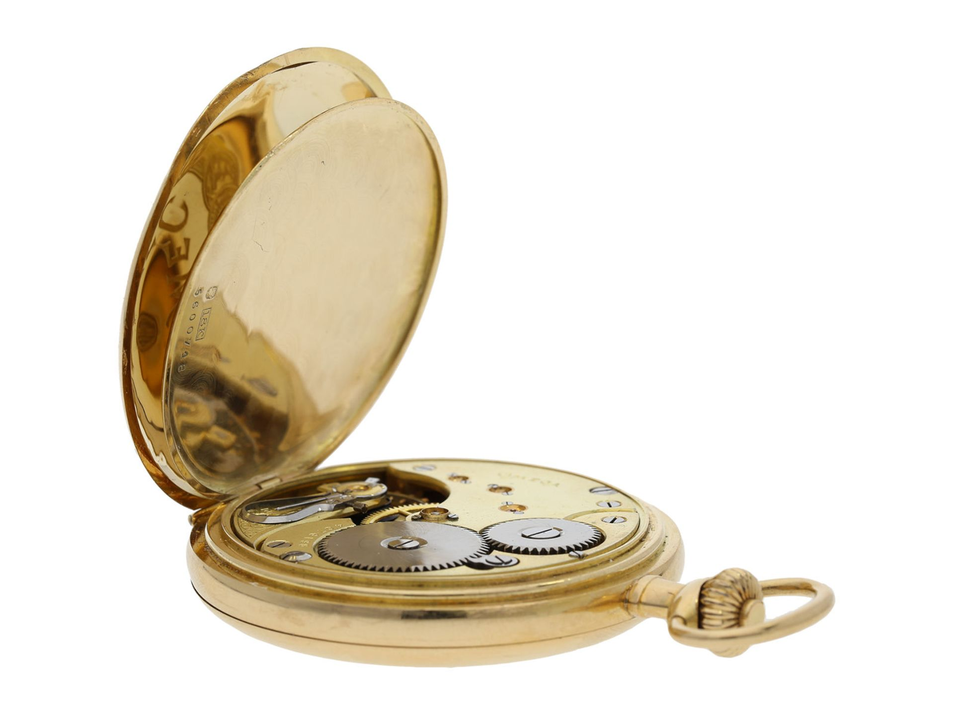 Pocket watch: Omega gold hunting case watch, ca. 1912 - Bild 3 aus 8