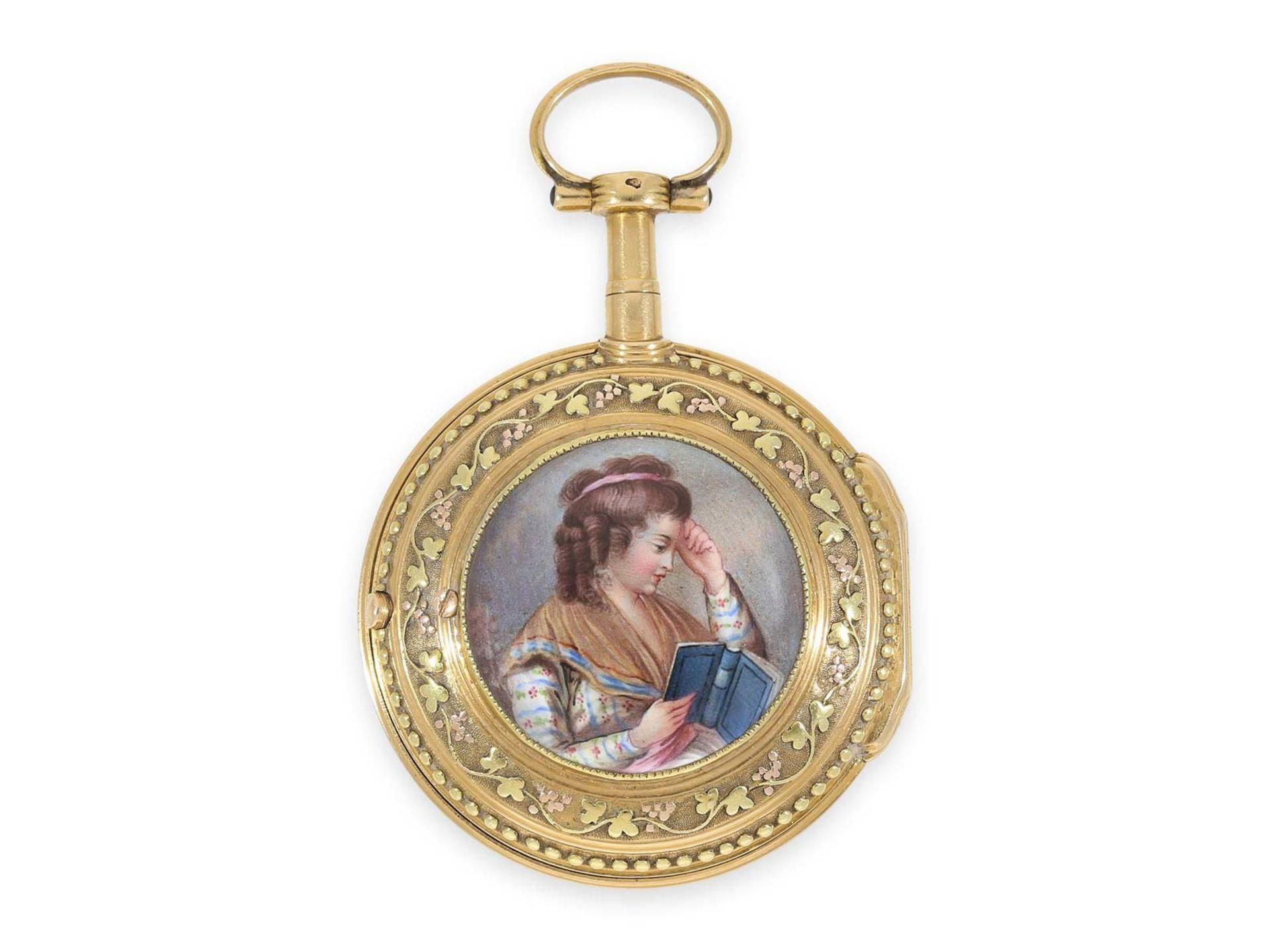 Pocket watch: gold/ enamel verge watch with finest enamel painting, excellent quality, Vaucher Paris