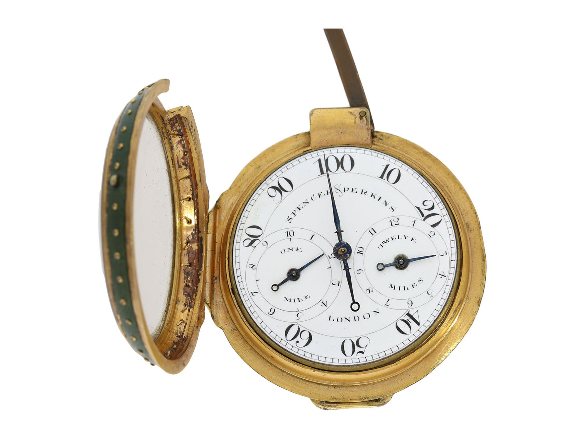 Pocket watch: very early and rare English pedometer, Spencer and Perkins London, ca. 1780 - Bild 4 aus 4