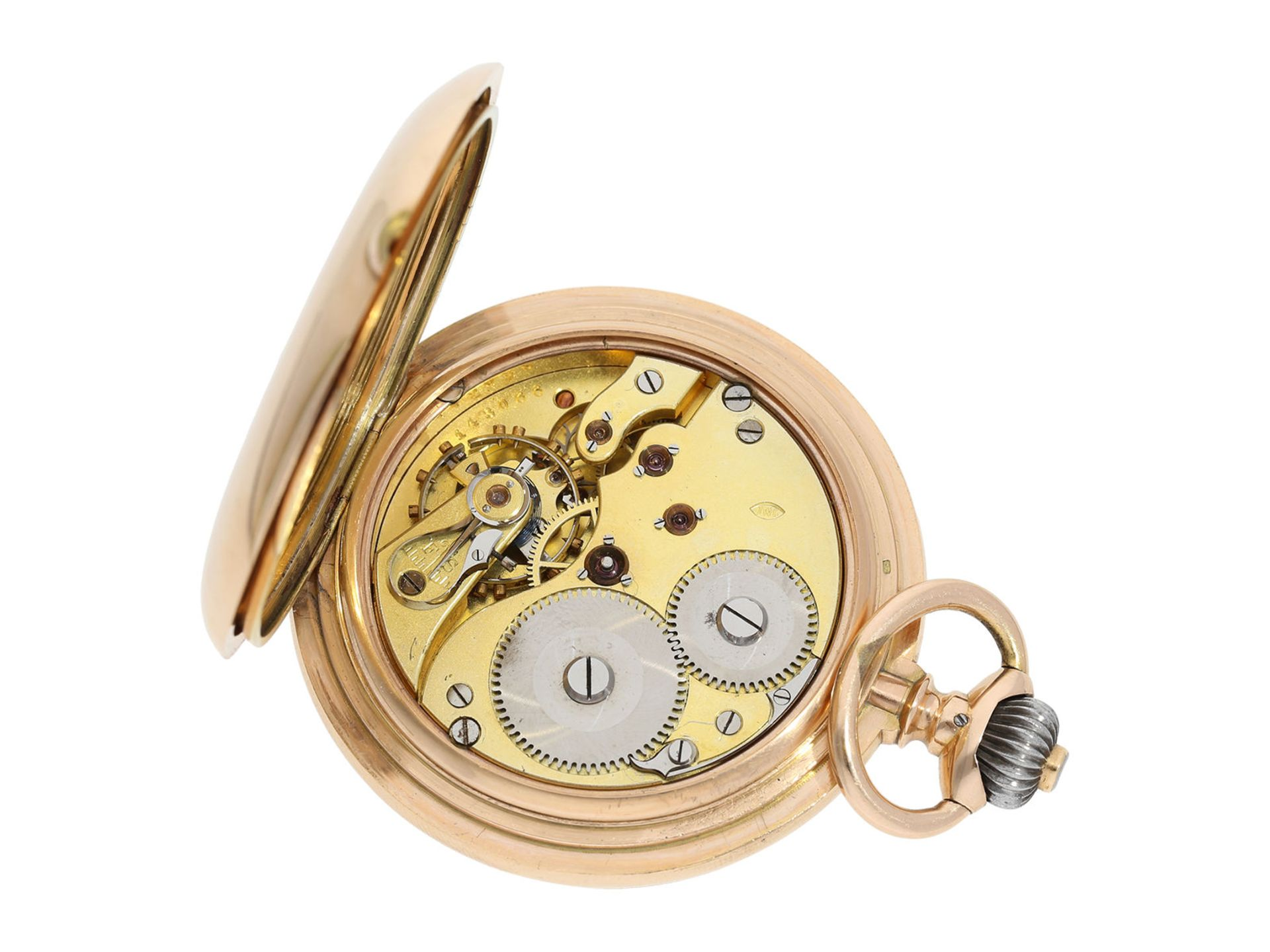 Pocket watch: particularly heavy and large, early pink gold hunting case watch, IWC Schaffhausen, - Bild 3 aus 6