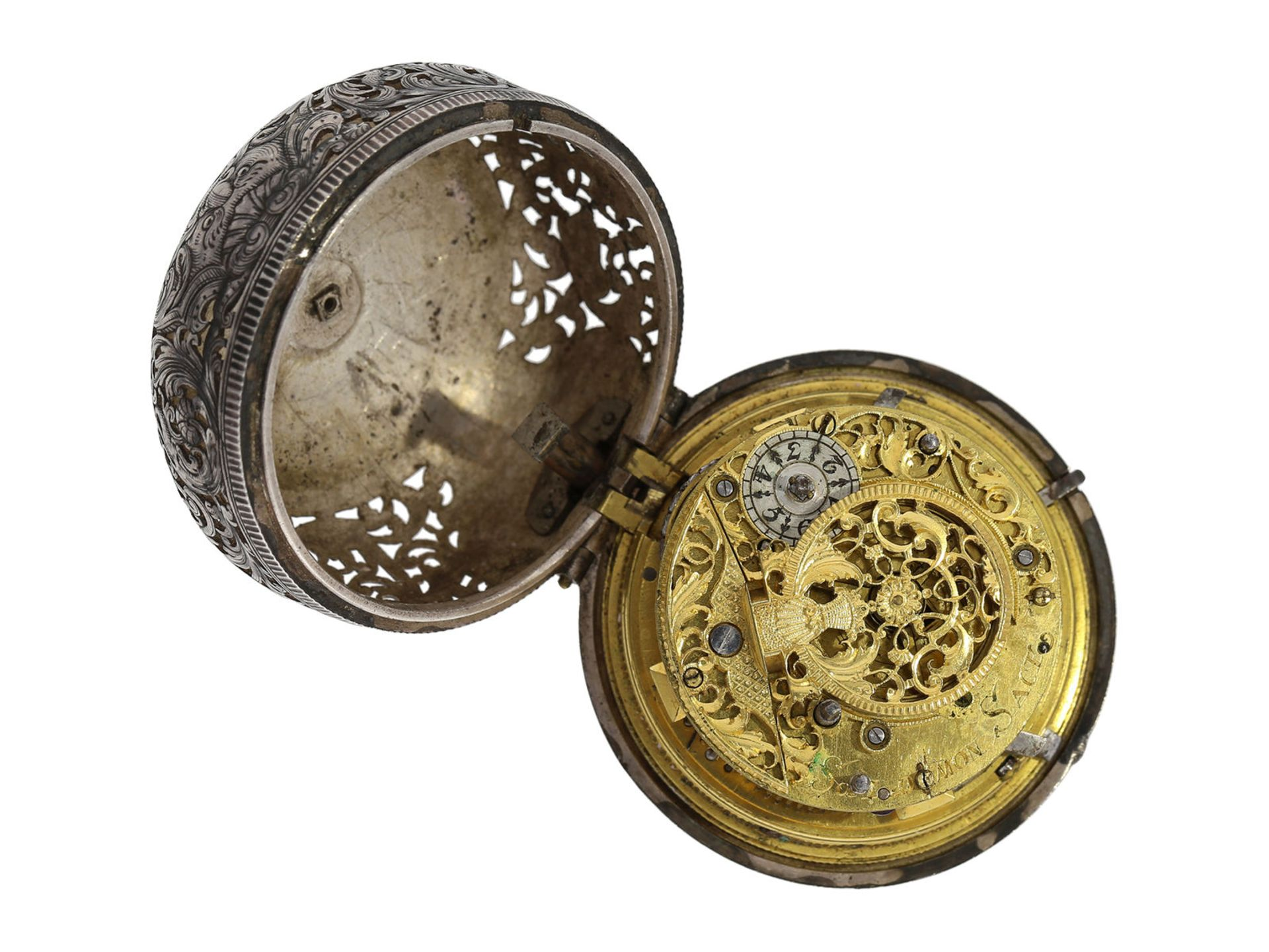 Pocket watch: Augsburg pair case repousse verge watch with relief case in exceptional quality and - Bild 6 aus 14