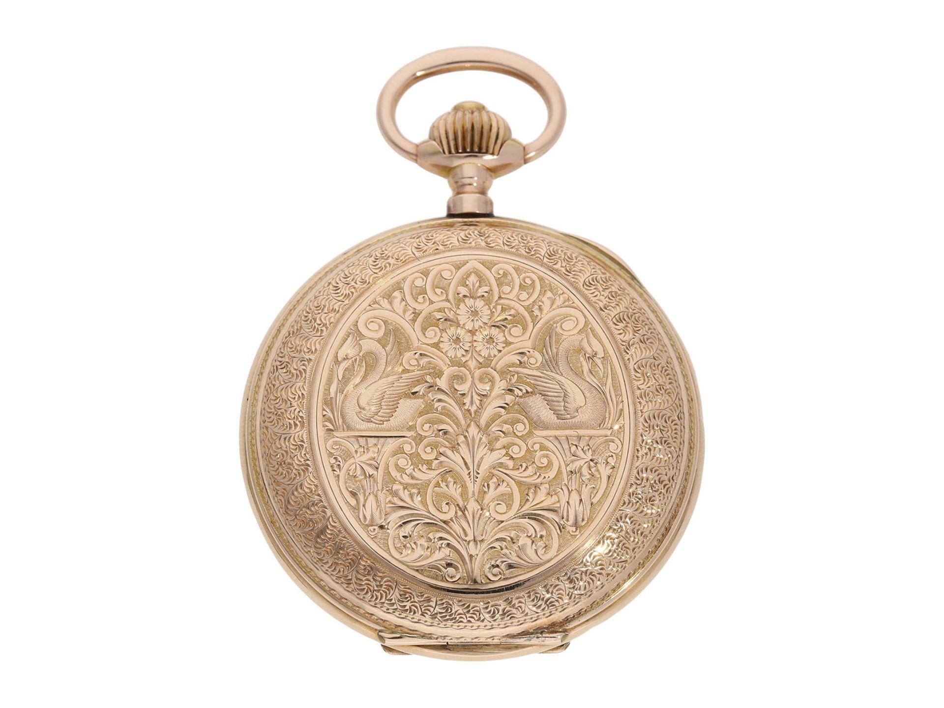 Pocket watch: extremely decorative pink gold splendour hunting case watch with Renaissance case, - Bild 2 aus 9