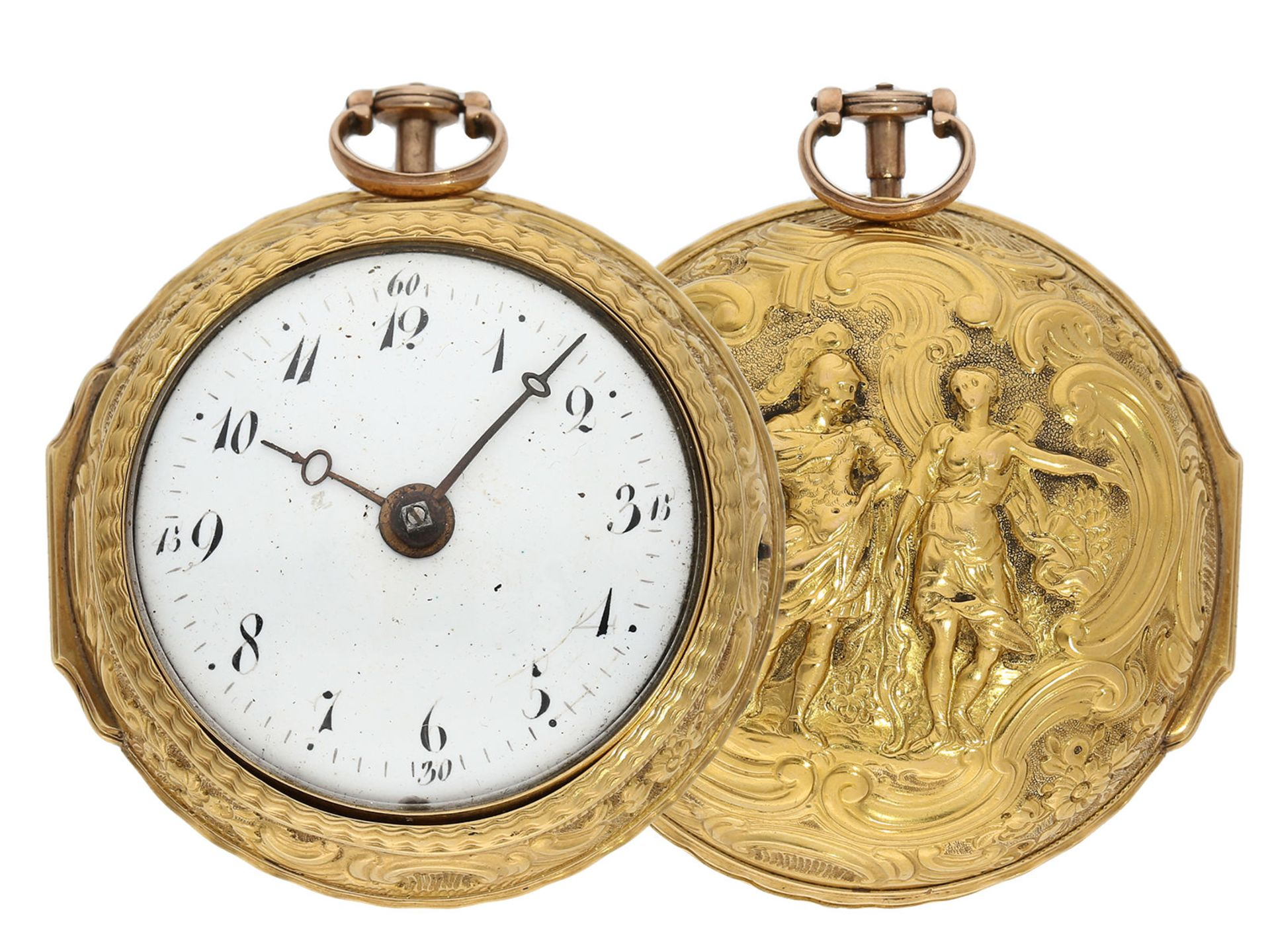 Pocket watch: early English 18K gold repousse pair case verge watch, signed Wersten London,