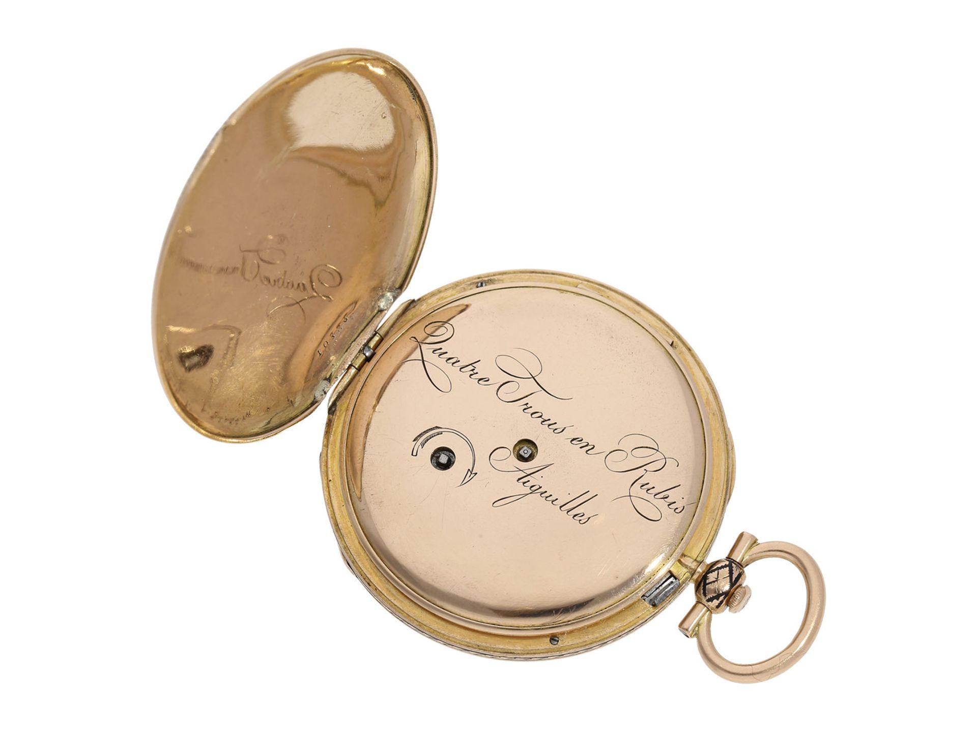 Pocket watch: magnificent gold/ enamel Lepine with rare case decoration and repeater, fine calibre - Bild 4 aus 7