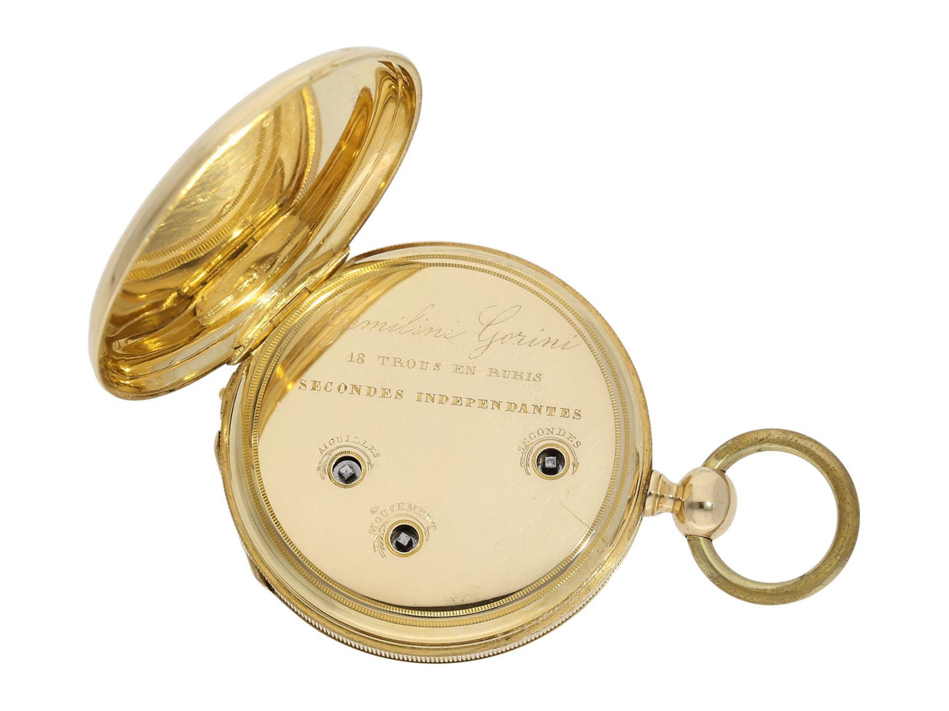 Pocket watch: technically interesting Italian pocket watch with Seconde Morte, Gimilini Gorini, case - Bild 2 aus 6