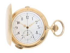 Pocket watch: especially large and heavy Swiss gold hunting case repeater with chronograph, Audemars