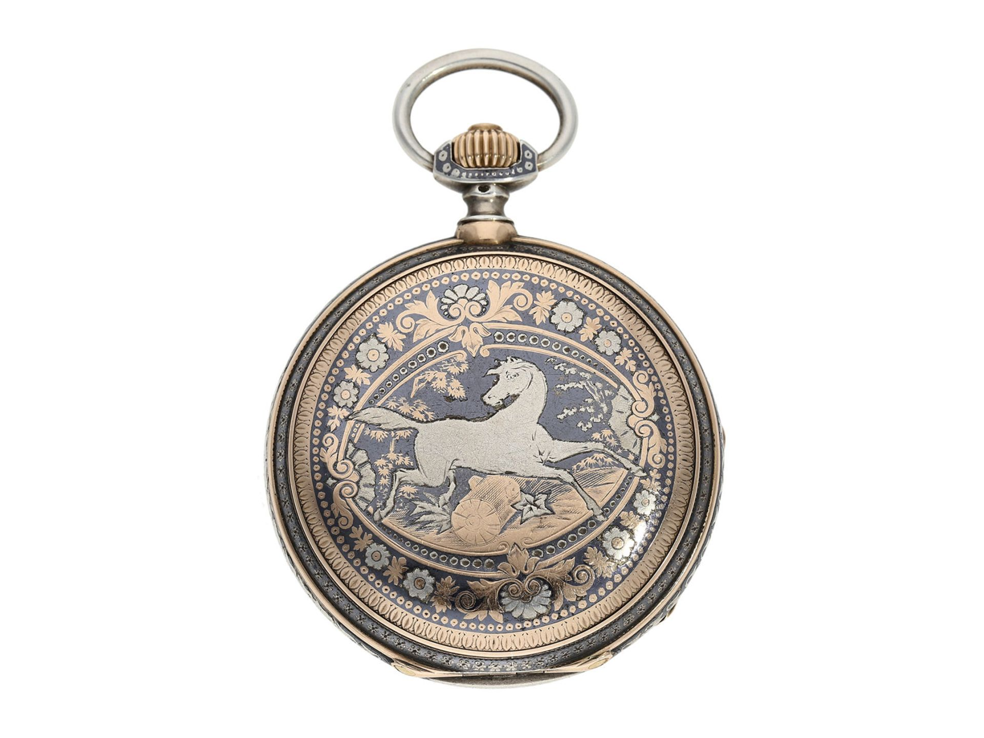 Pocket watch: extremely splendid Tula hunting case watch pink gold/ silver, high quality - Bild 6 aus 7