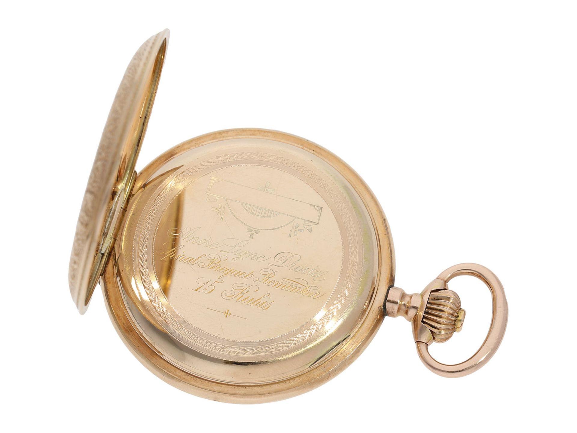 Pocket watch: extremely decorative pink gold splendour hunting case watch with Renaissance case, - Bild 4 aus 9