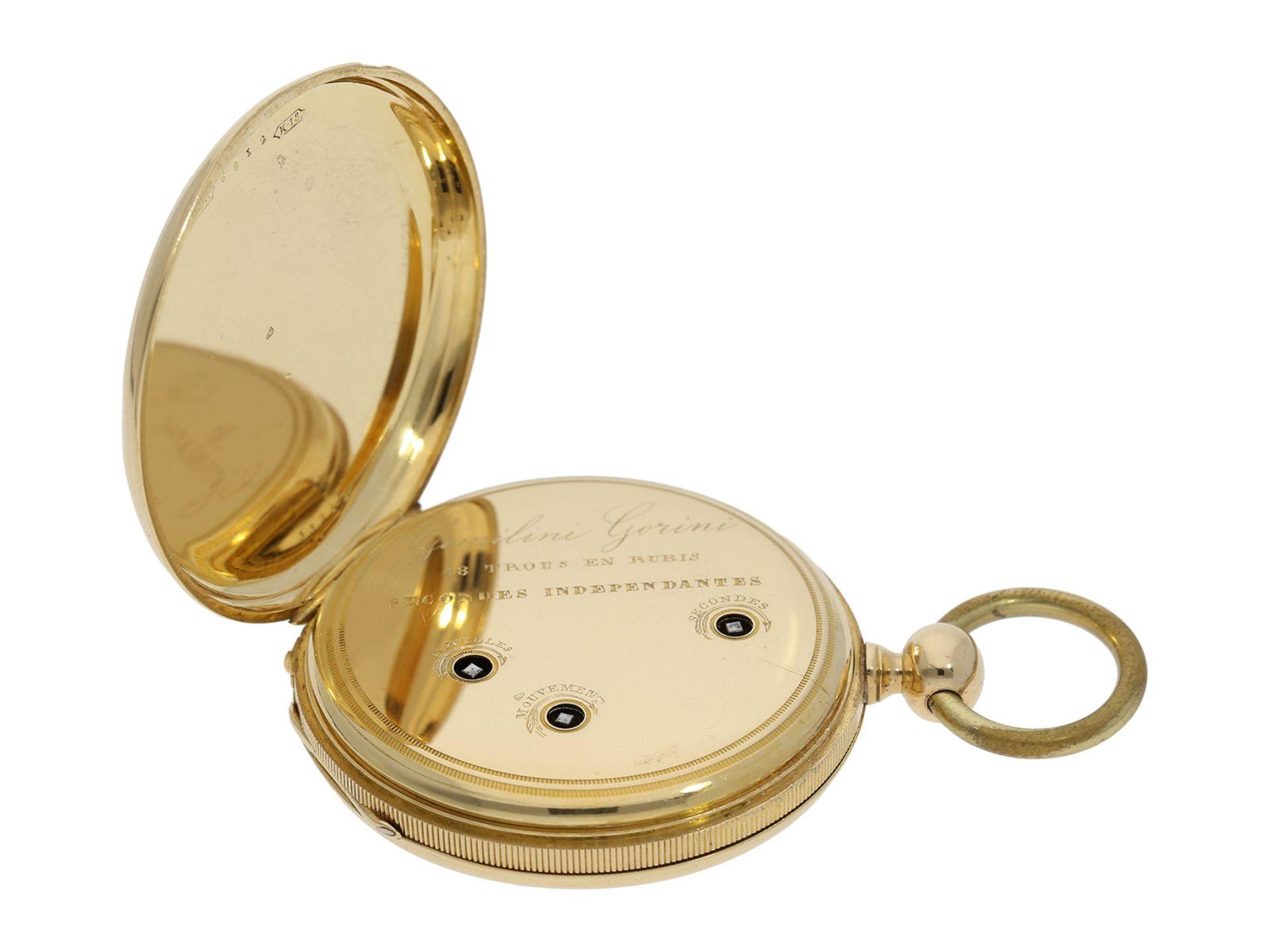 Pocket watch: technically interesting Italian pocket watch with Seconde Morte, Gimilini Gorini, case - Bild 3 aus 6