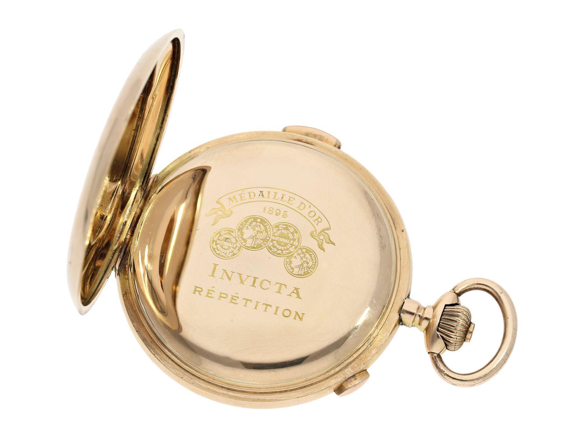 Pocket watch: large Swiss gold hunting case repeater with chronograph, brand Invicta, No. 77372, ca. - Bild 3 aus 8