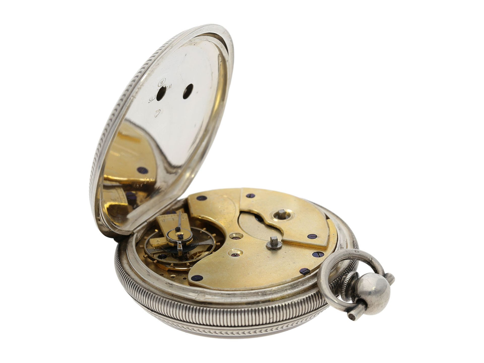 Pocket watch: large man's pocket watch with center seconds and mock pendulum, Switzerland for the - Bild 3 aus 7