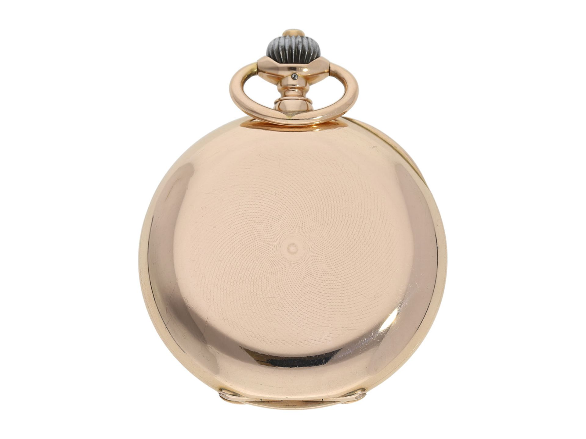 Pocket watch: particularly heavy and large, early pink gold hunting case watch, IWC Schaffhausen, - Bild 6 aus 6