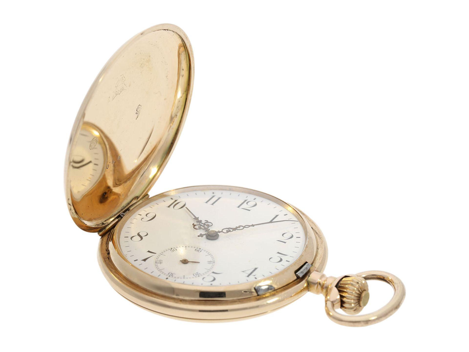 Pocket watch: heavy pink gold hunting case watch, Swiss Ankerchronometer, around 1900, No. - Bild 2 aus 8