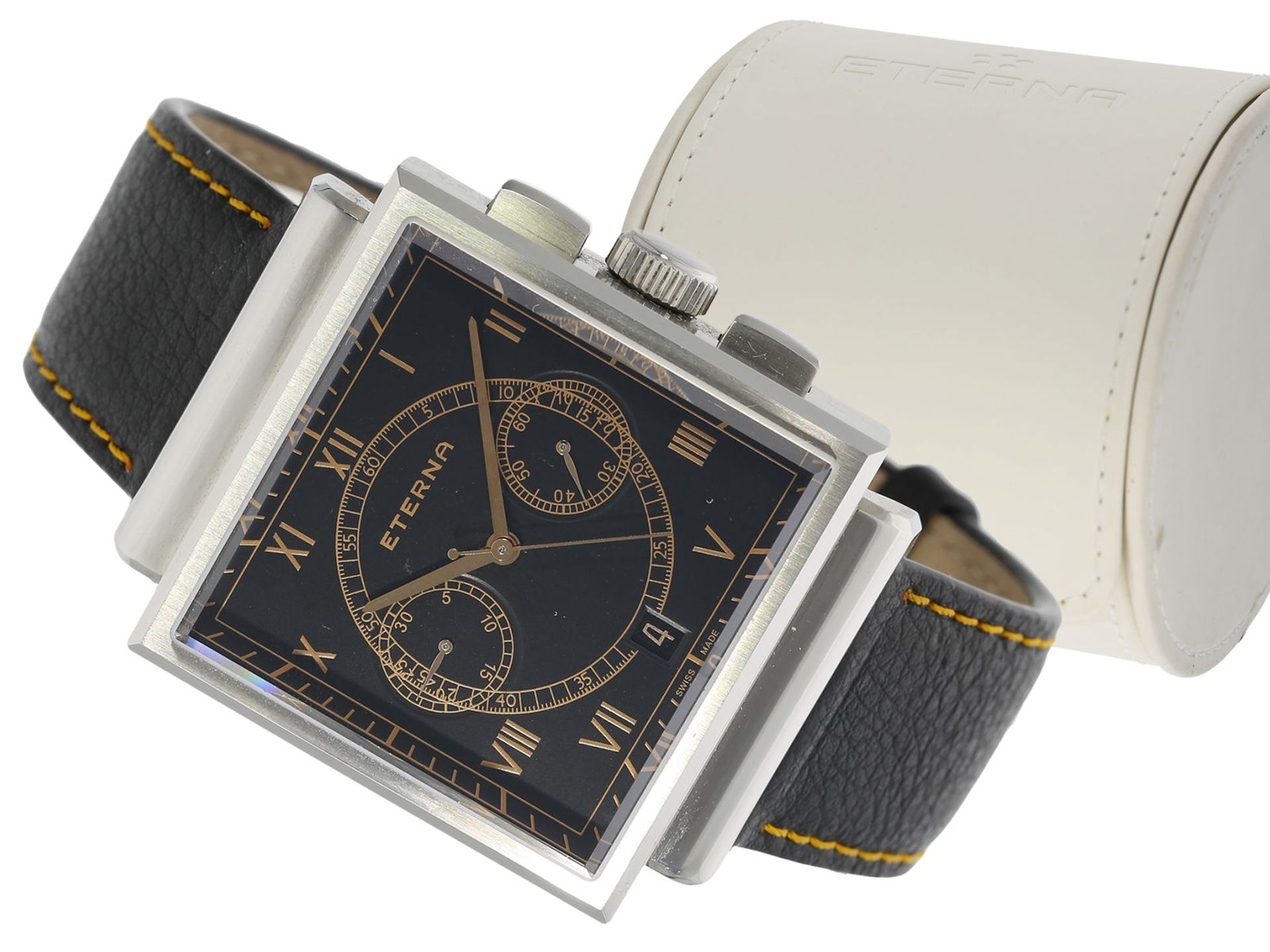 "Wristwatch: attractive, rare large stainless steel chronograph, Eterna ""Heritage 1938"", Limited"