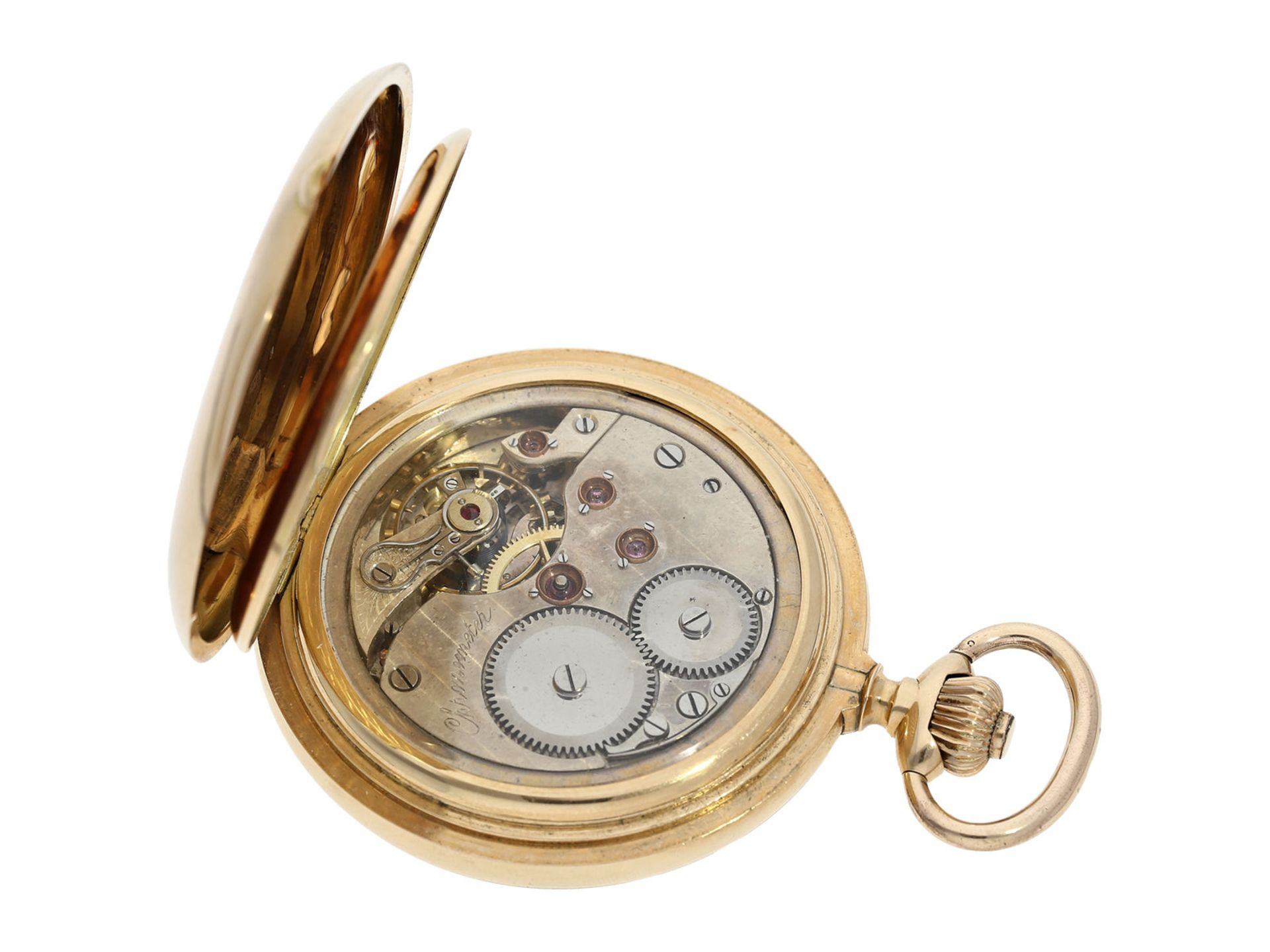 Pocket watch: especially heavy Swiss gold hunting case watch with chronometer escapement, ca. - Bild 5 aus 8