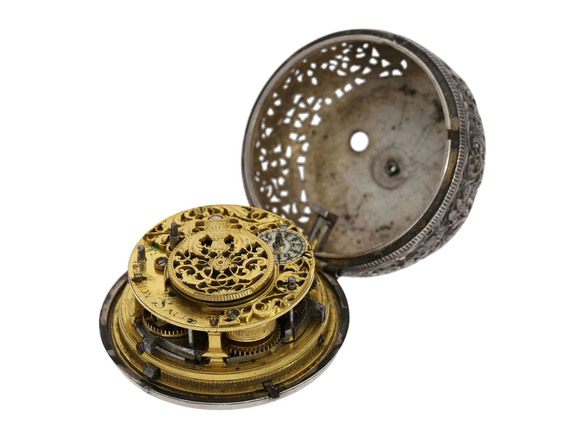 Pocket watch: Augsburg pair case repousse verge watch with relief case in exceptional quality and - Bild 9 aus 14