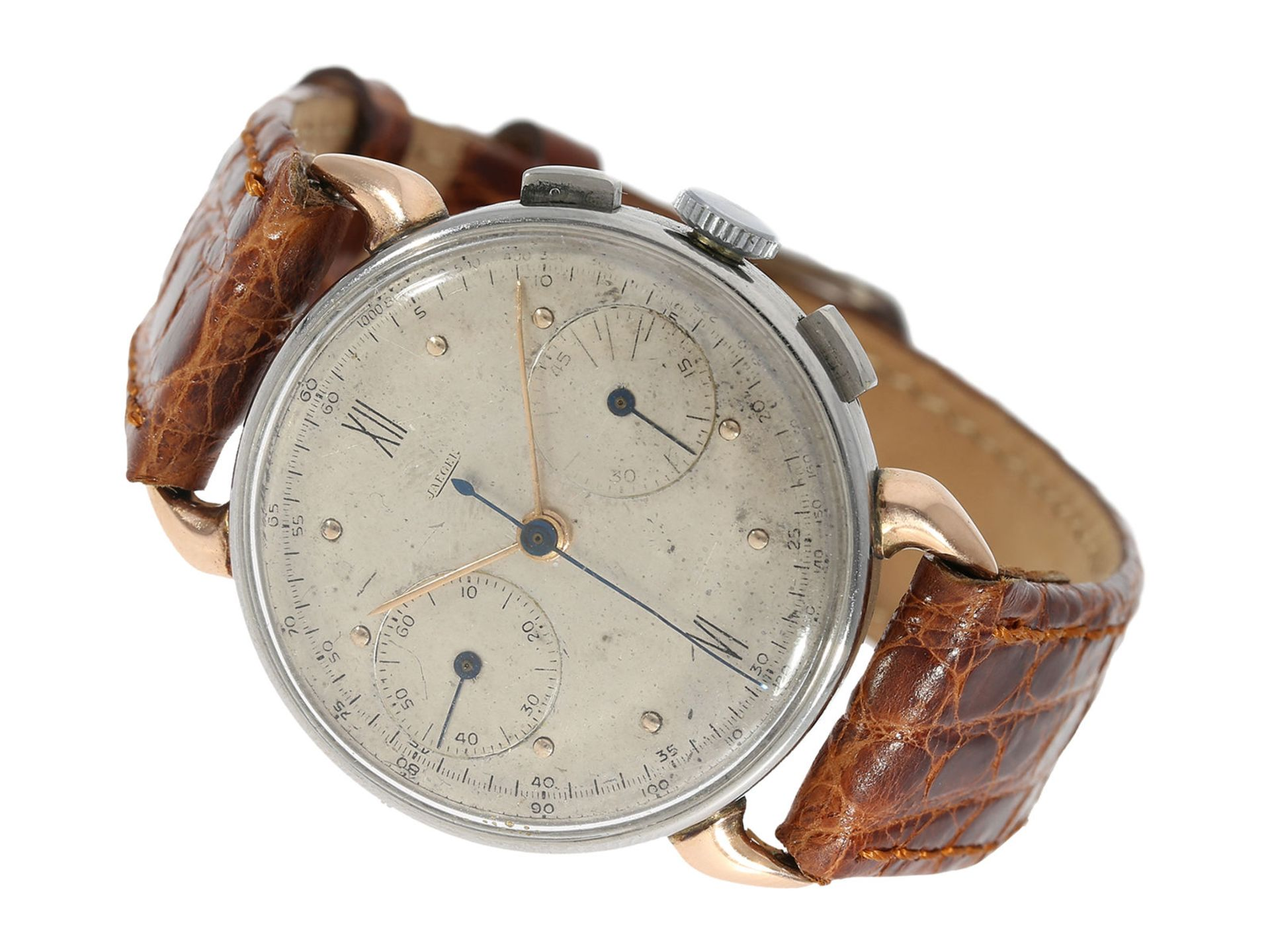Wristwatch: very rare, early Jaeger chronograph in steel/ pink gold, Reference 22487, from the