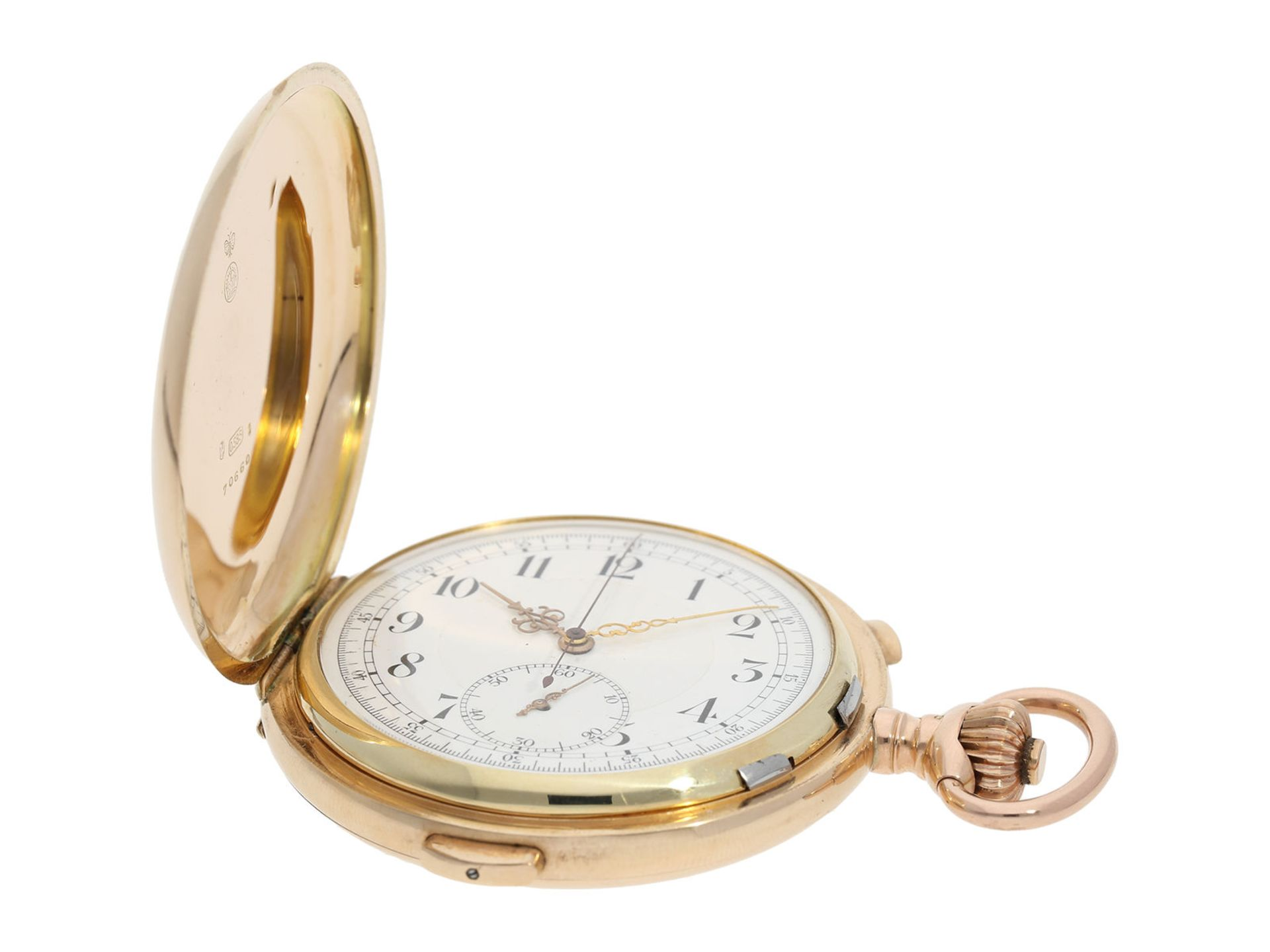 Pocket watch: especially large and heavy Swiss gold hunting case minute repeater with chronograph, - Bild 2 aus 9