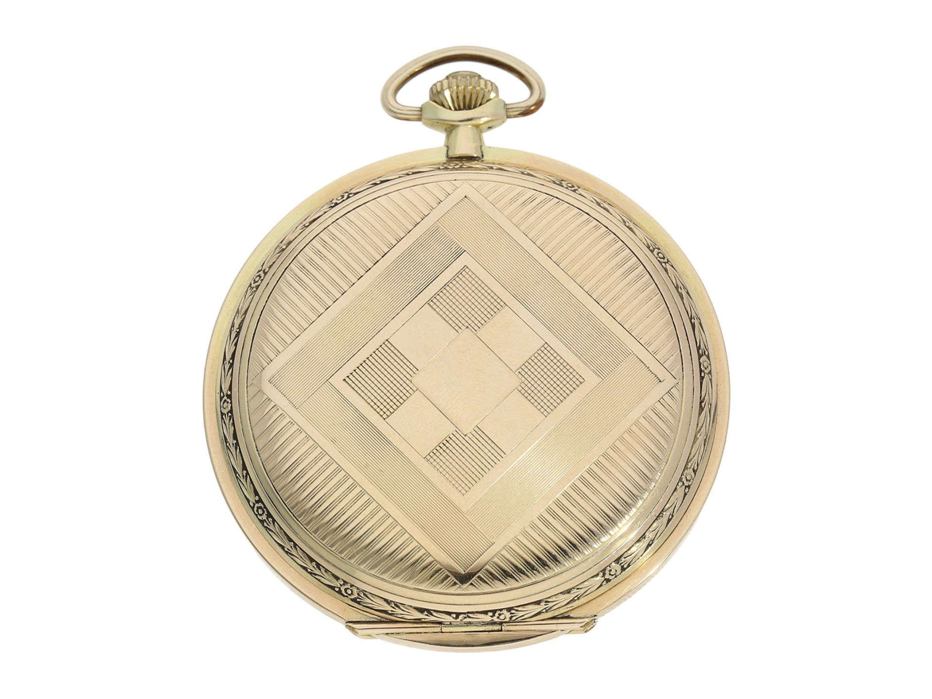 Pocket watch: especially large and elegant Art Deco gold hunting case watch in very good - Bild 8 aus 8