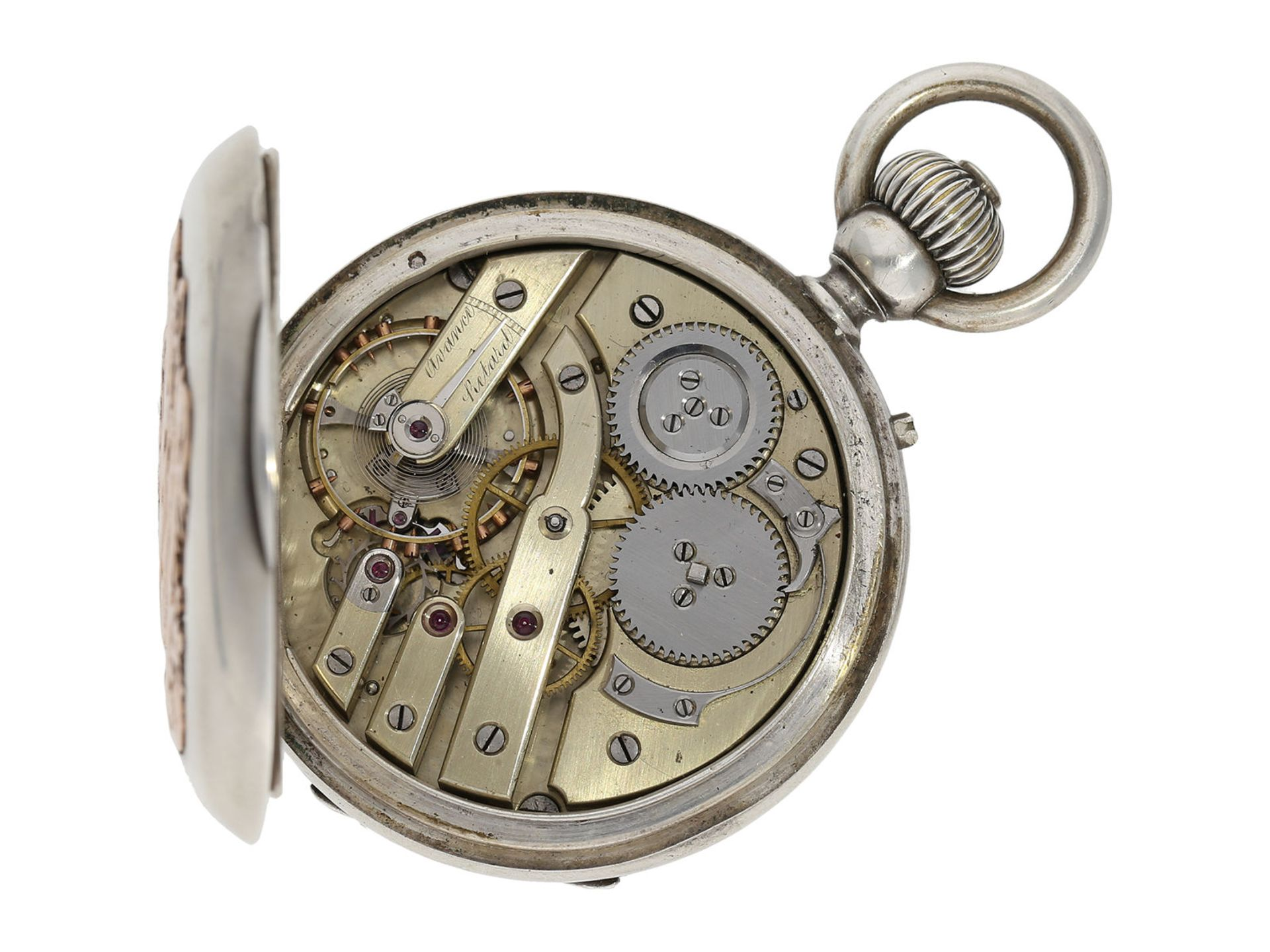 Pocket watch: extremely rare and mysterious very fine quality chronograph with original box, gold/ - Bild 3 aus 6