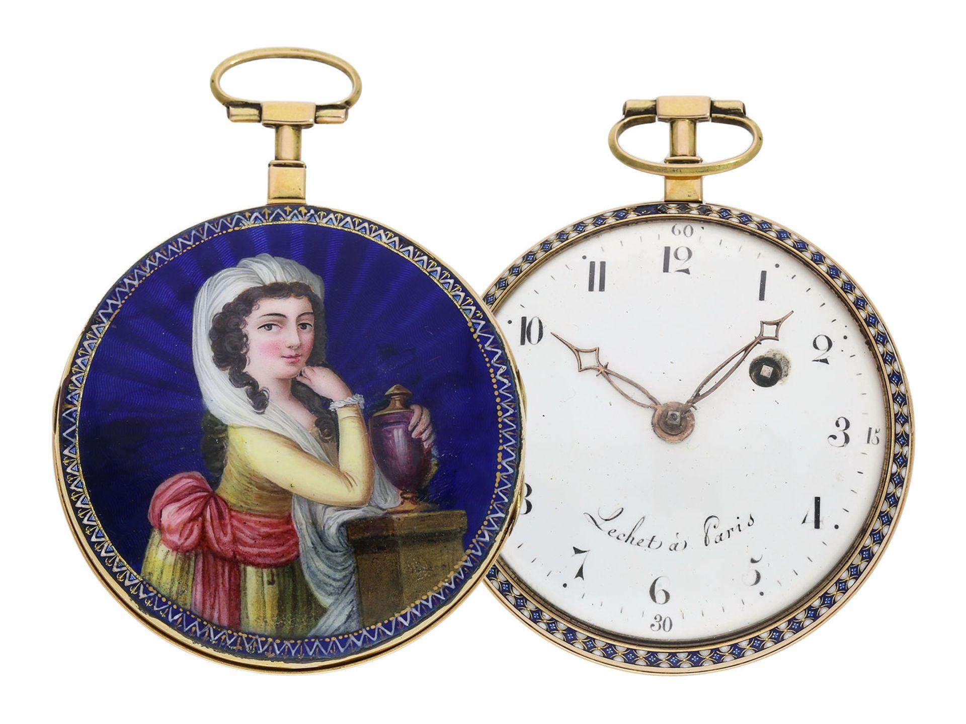 Pocket watch: large gold/ enamel pocket watch, Lechet a Paris, ca. 1795