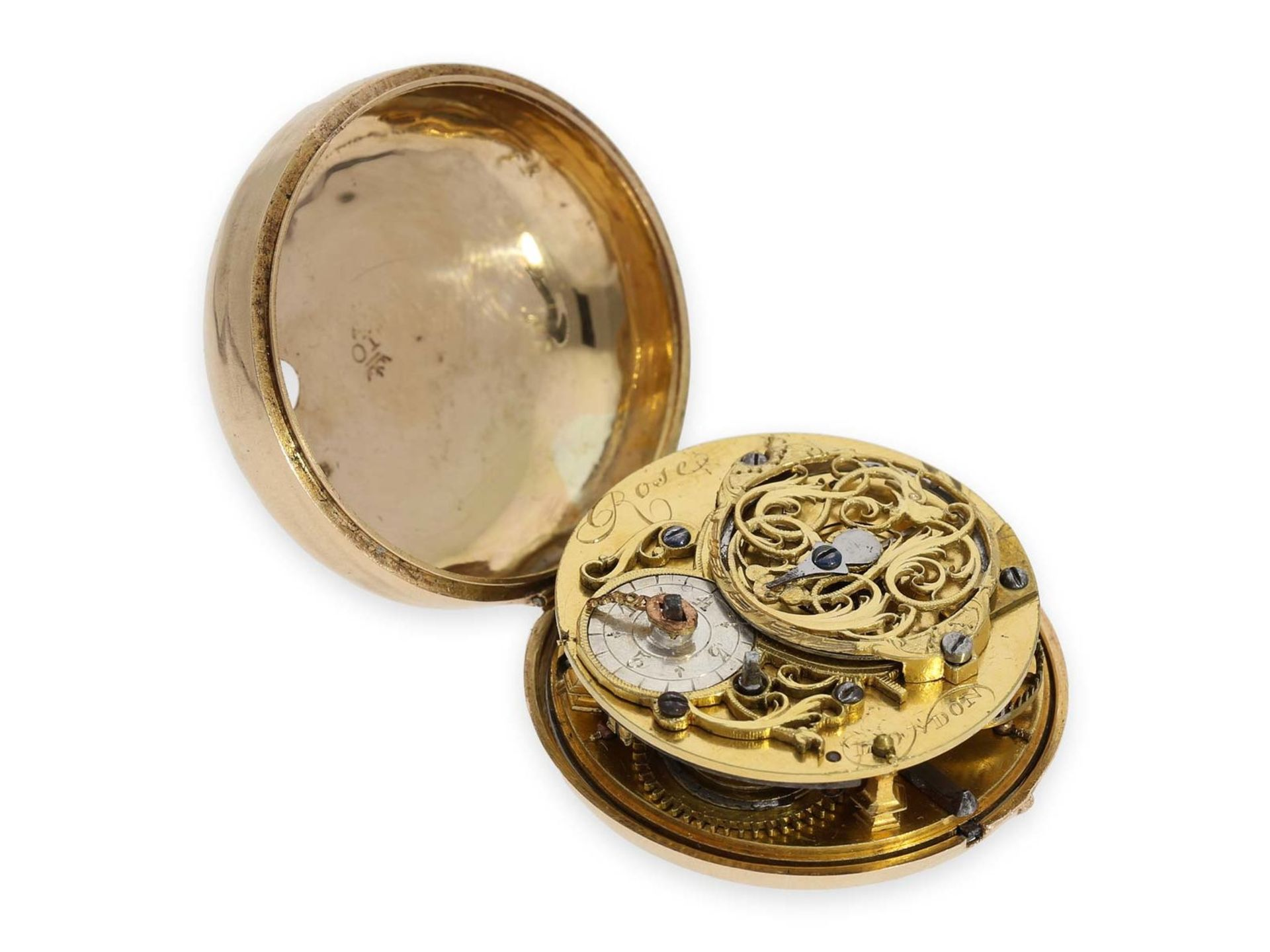 Pocket watch: early triple case gold repousse verge watch, signed Rose London, ca. 1770 - Bild 5 aus 8