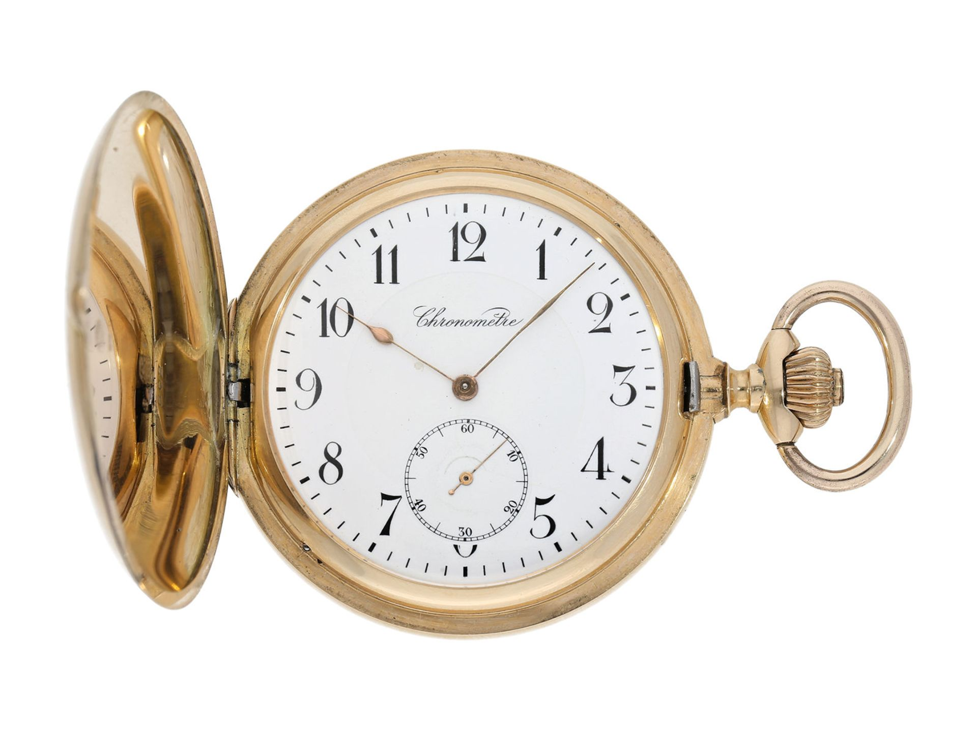Pocket watch: especially heavy Swiss gold hunting case watch with chronometer escapement, ca.