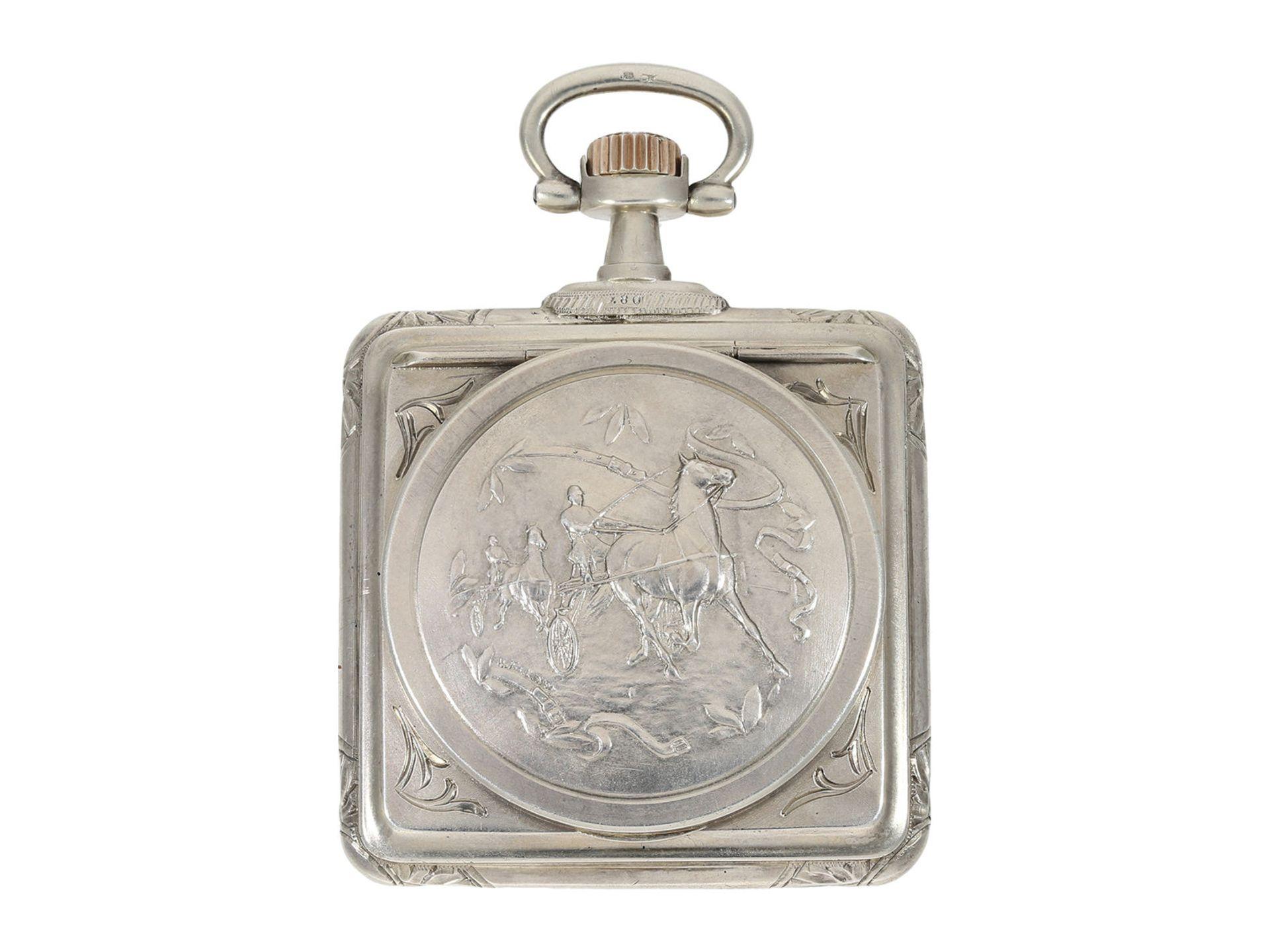 Pocket watch: very rare square Art Nouveau Omega pocket watch, silver, ca. 1900 - Bild 2 aus 5