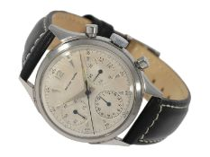 Wristwatch: very beautiful vintage chronograph with screwed case and calibre Valjoux 72, signed