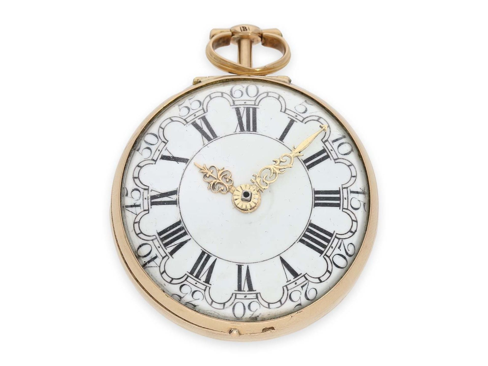 Pocket watch: early triple case gold repousse verge watch, signed Rose London, ca. 1770 - Bild 3 aus 8
