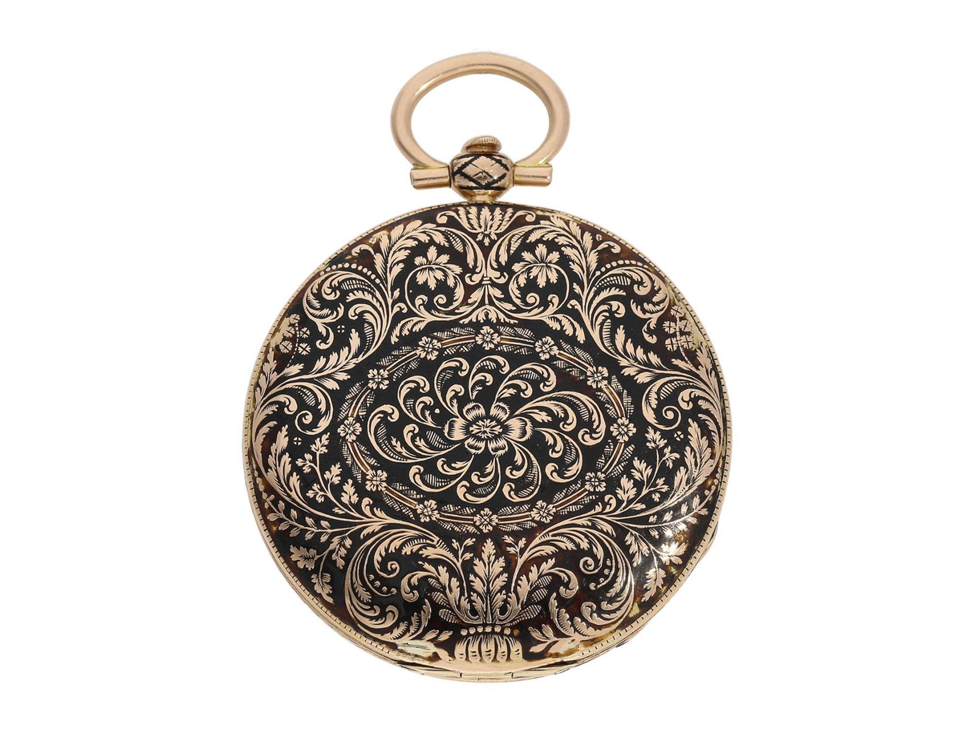 Pocket watch: magnificent gold/ enamel Lepine with rare case decoration and repeater, fine calibre - Bild 5 aus 7