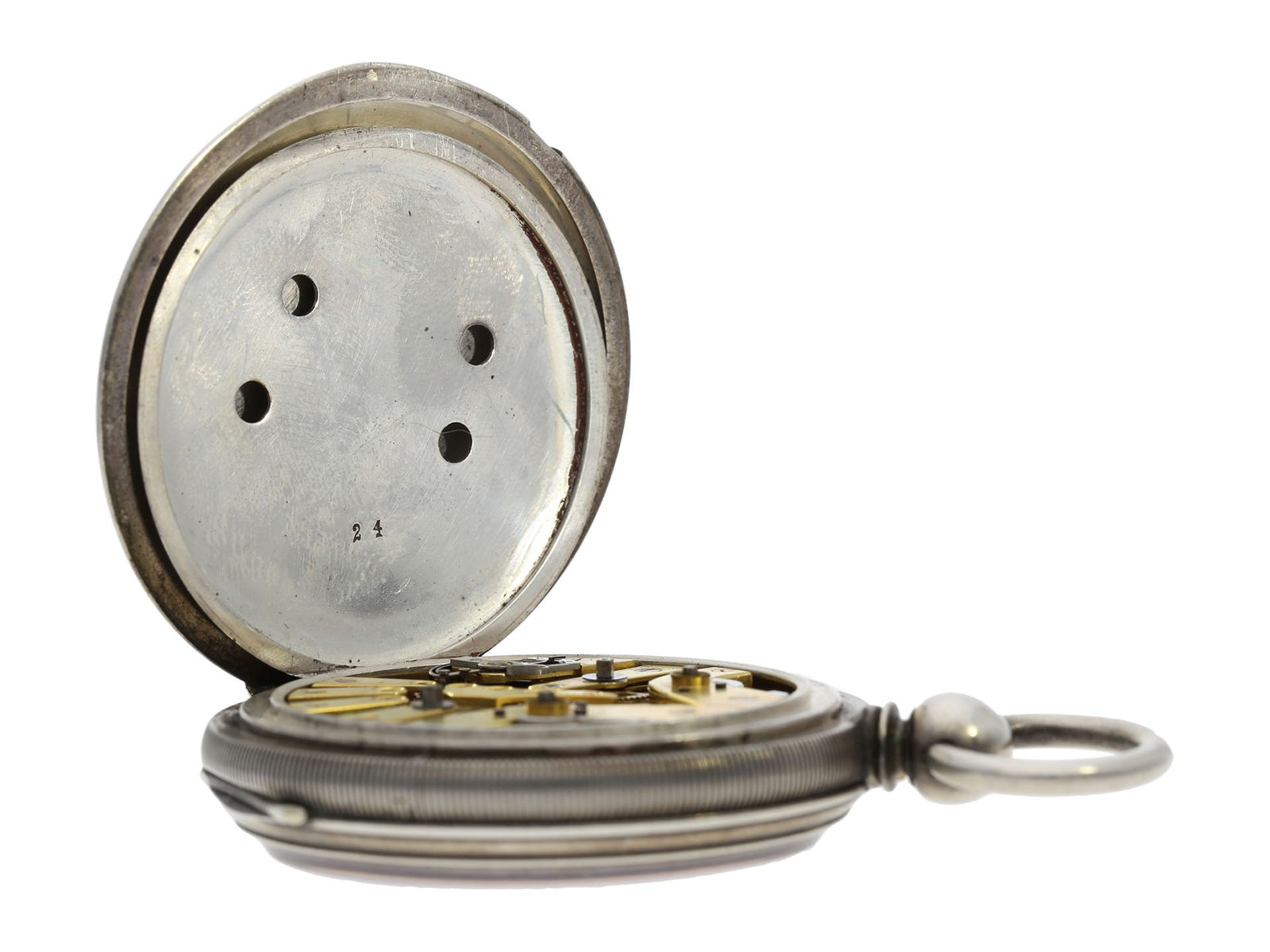 Pocket watch: early deck watch with 2 time zones and independent, stoppable centre seconds, signed - Bild 3 aus 5