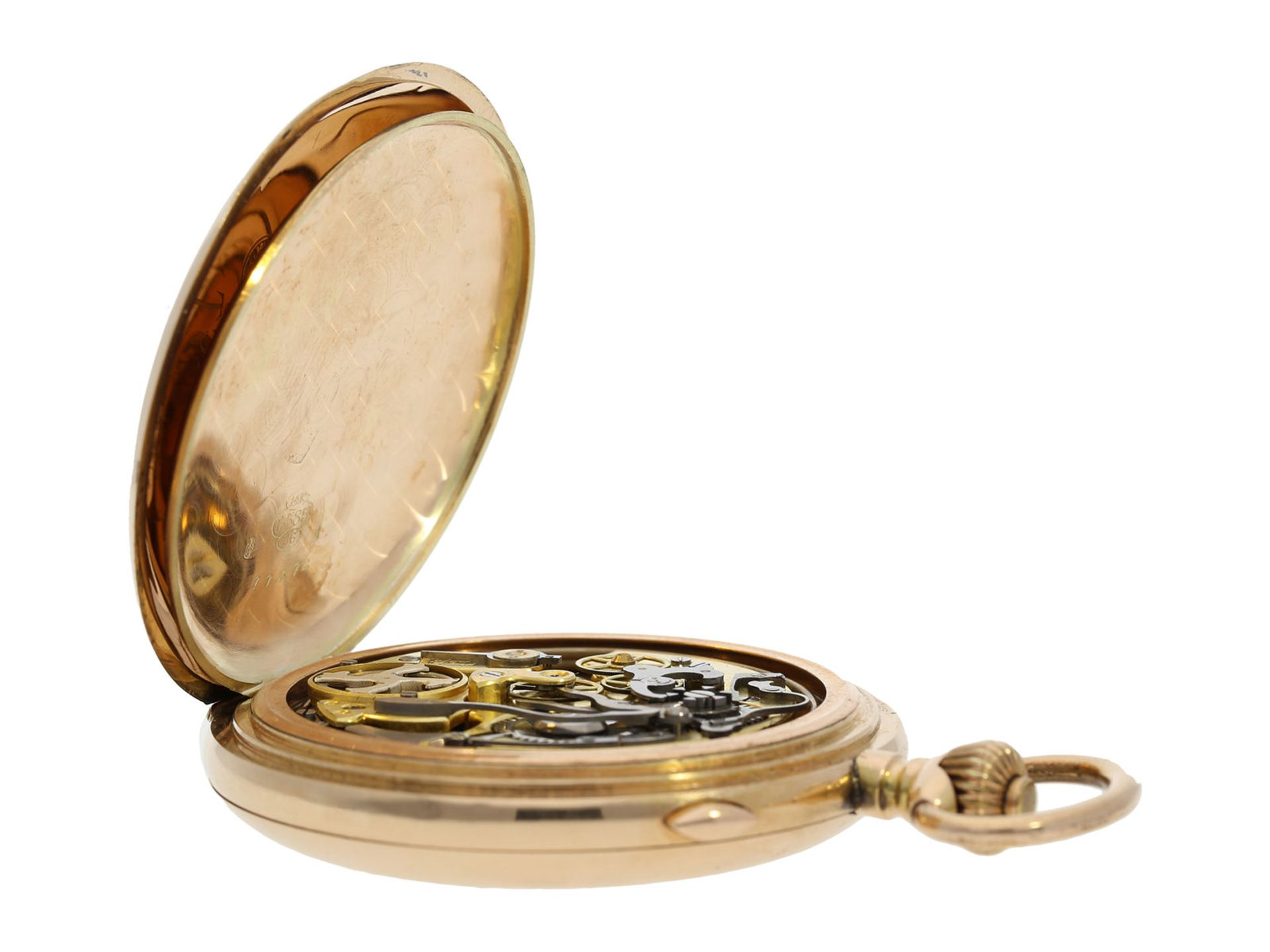 Pocket watch: large Swiss gold hunting case repeater with chronograph, brand Invicta, No. 77372, ca. - Bild 8 aus 8