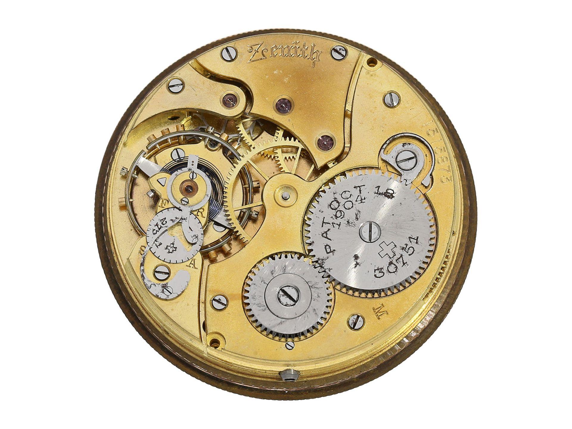 Pocket watch: chronometer Zenith in rare, perfectly preserved onyx case, ca. 1920 - Bild 5 aus 5