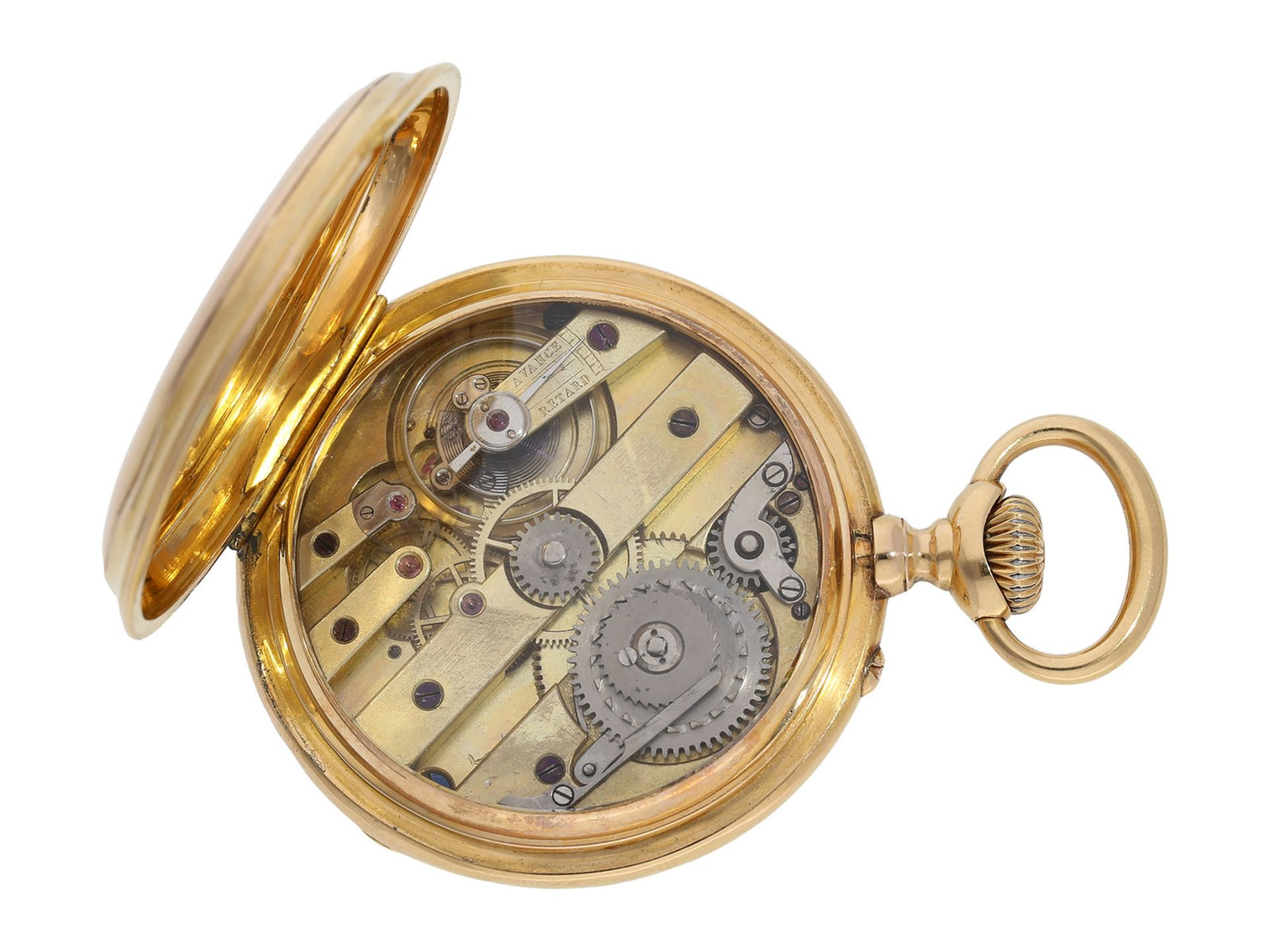 Pocket watch: technically interesting pocket watch with rare crown winding in manner of O. - Bild 3 aus 5