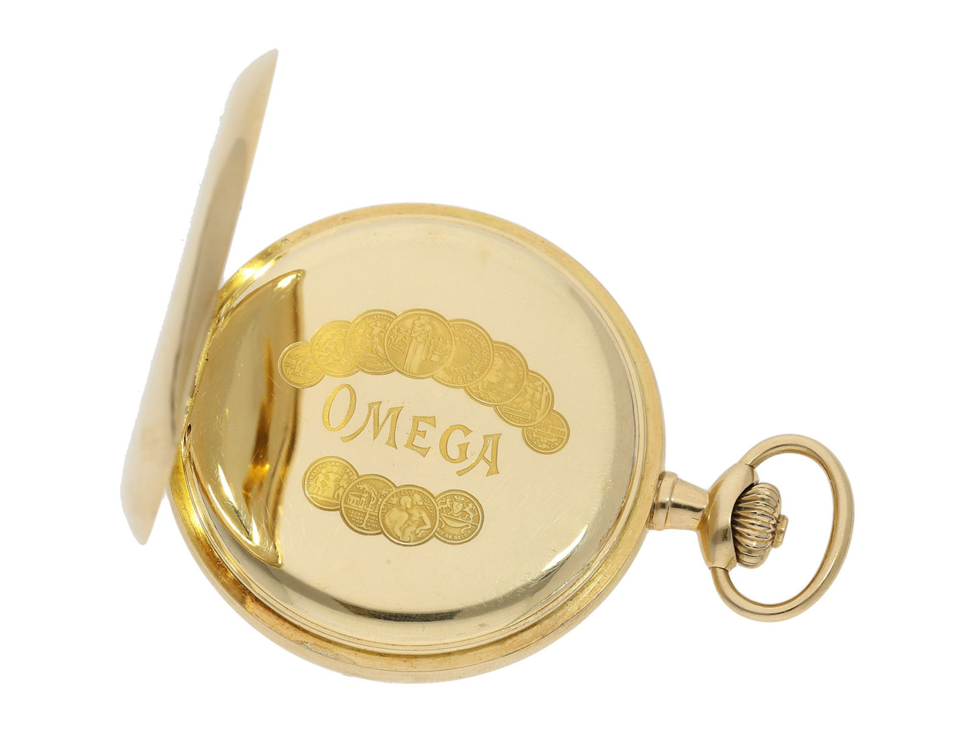 Pocket watch: Omega gold hunting case watch, ca. 1912 - Bild 5 aus 8