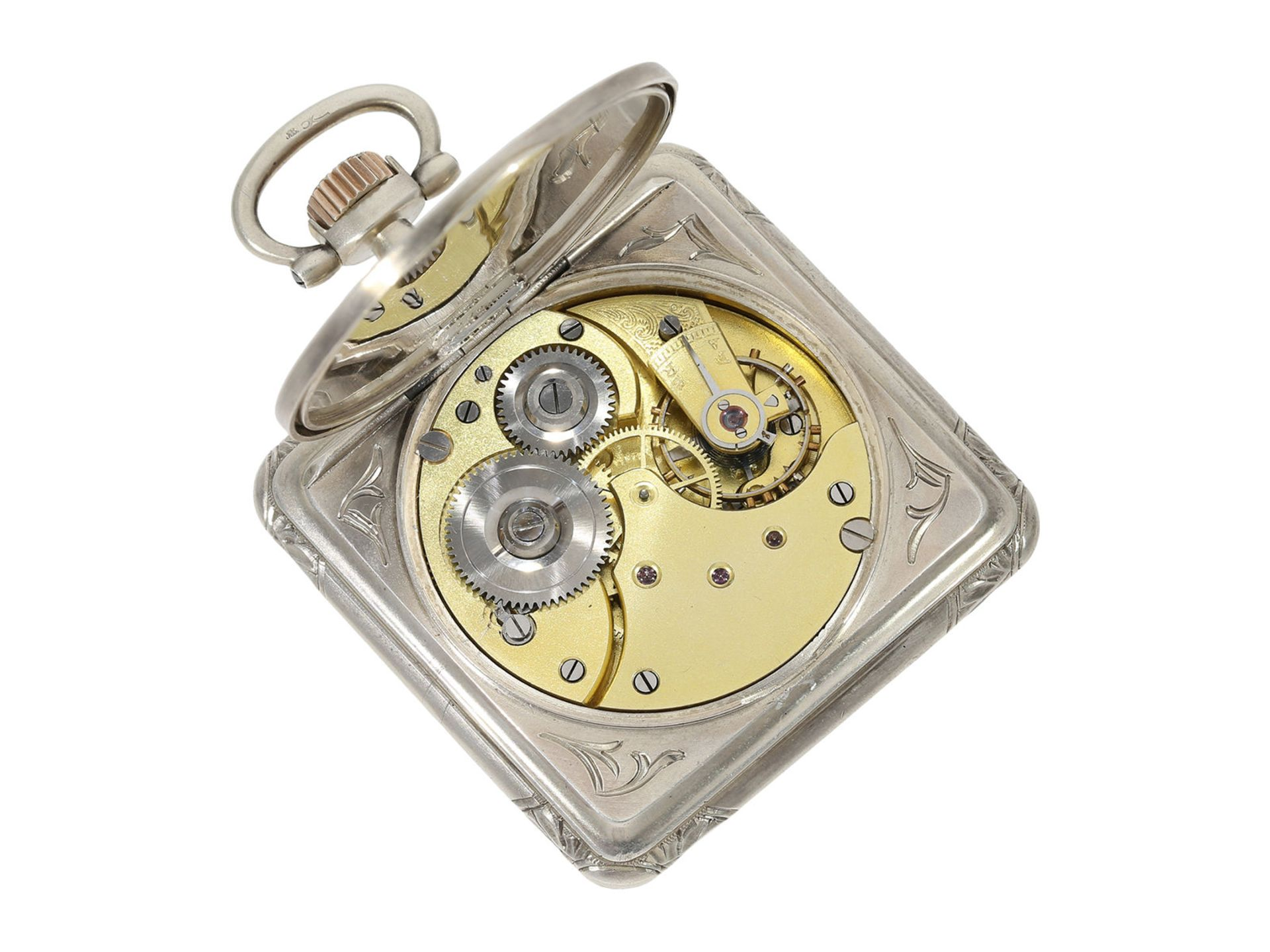 Pocket watch: very rare square Art Nouveau Omega pocket watch, silver, ca. 1900 - Bild 4 aus 5