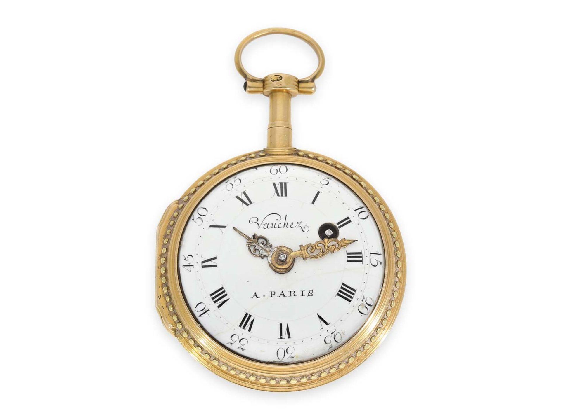 Pocket watch: gold/ enamel verge watch with finest enamel painting, excellent quality, Vaucher Paris - Bild 2 aus 3