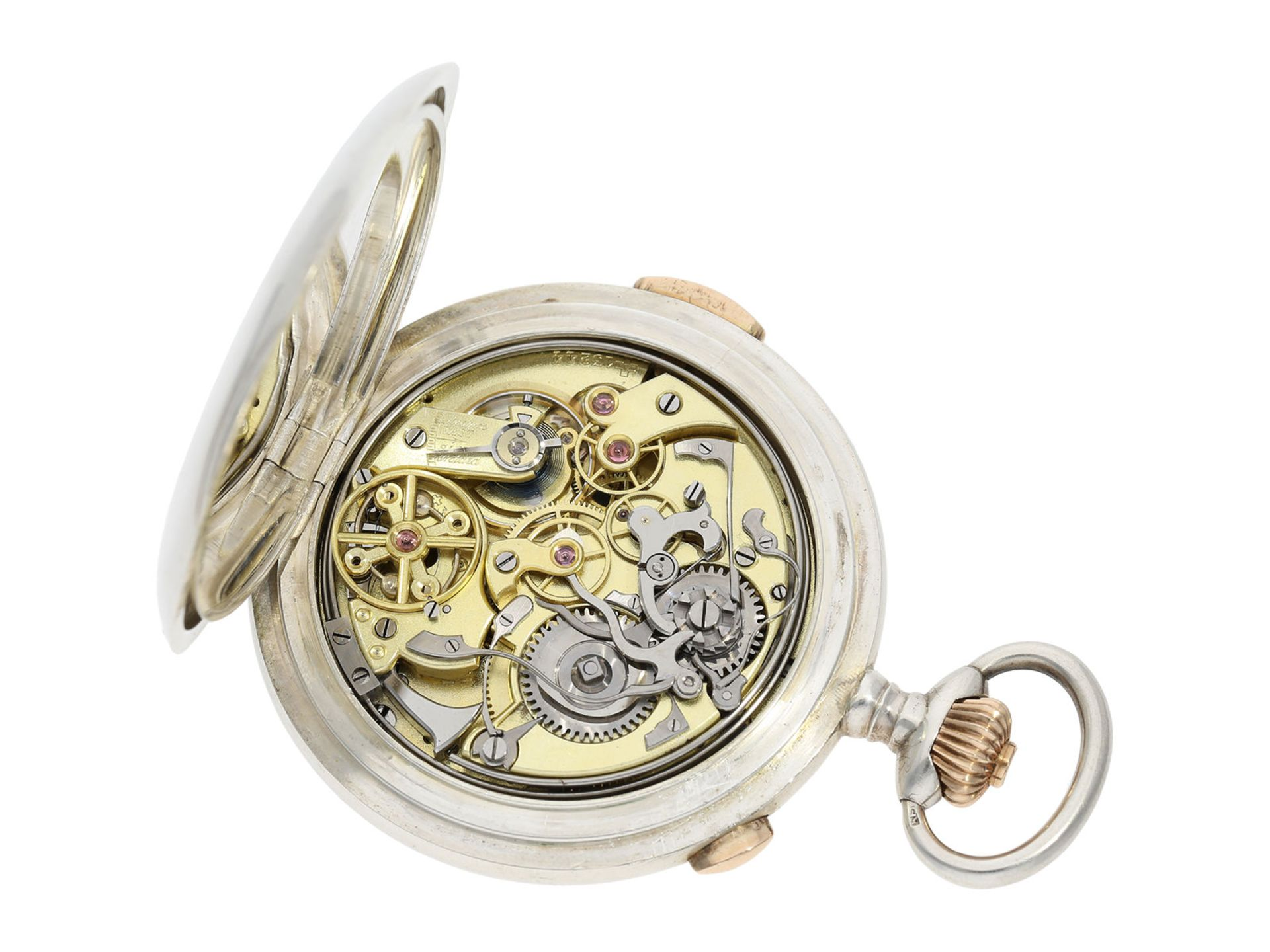 Pocket watch: high quality hunting case watch repeater with chronograph, Patent Swiss 13944 ( - Bild 4 aus 7
