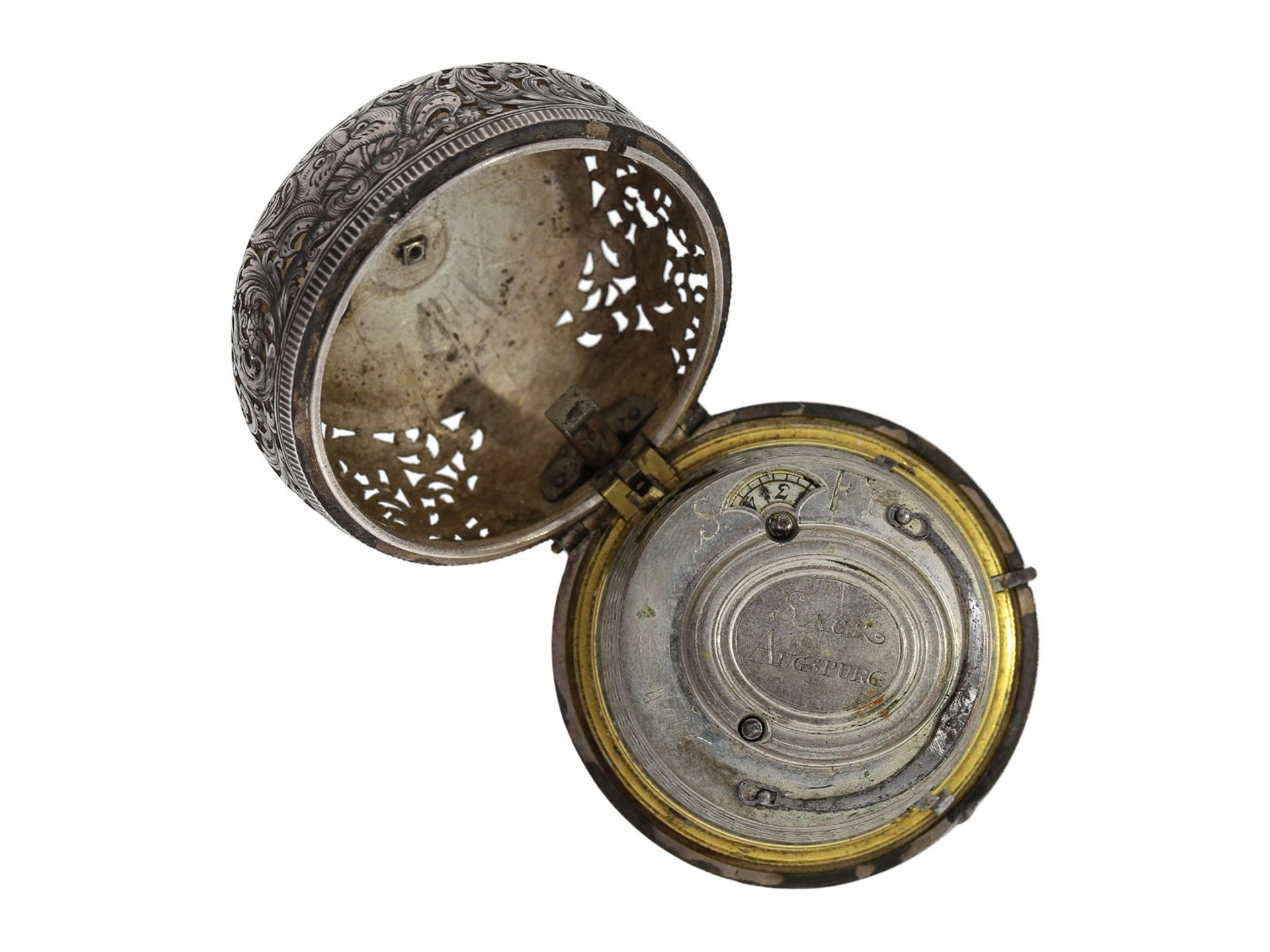 Pocket watch: Augsburg pair case repousse verge watch with relief case in exceptional quality and - Bild 5 aus 14