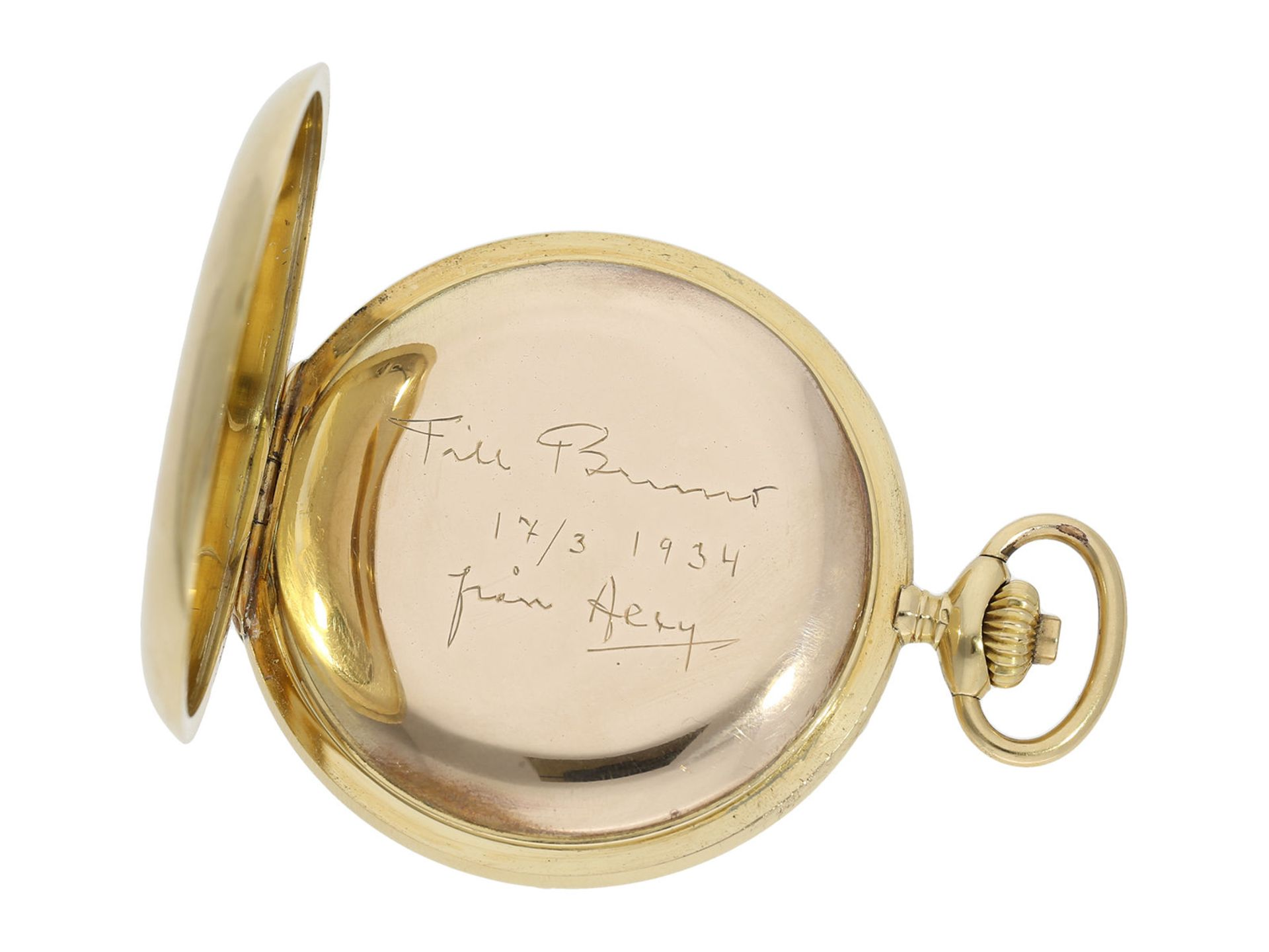 "Pocket watch: high-quality crown pusher chronograph ""Compteur"" in 18K gold, Longines ca. 1925Ca. - Bild 3 aus 5"