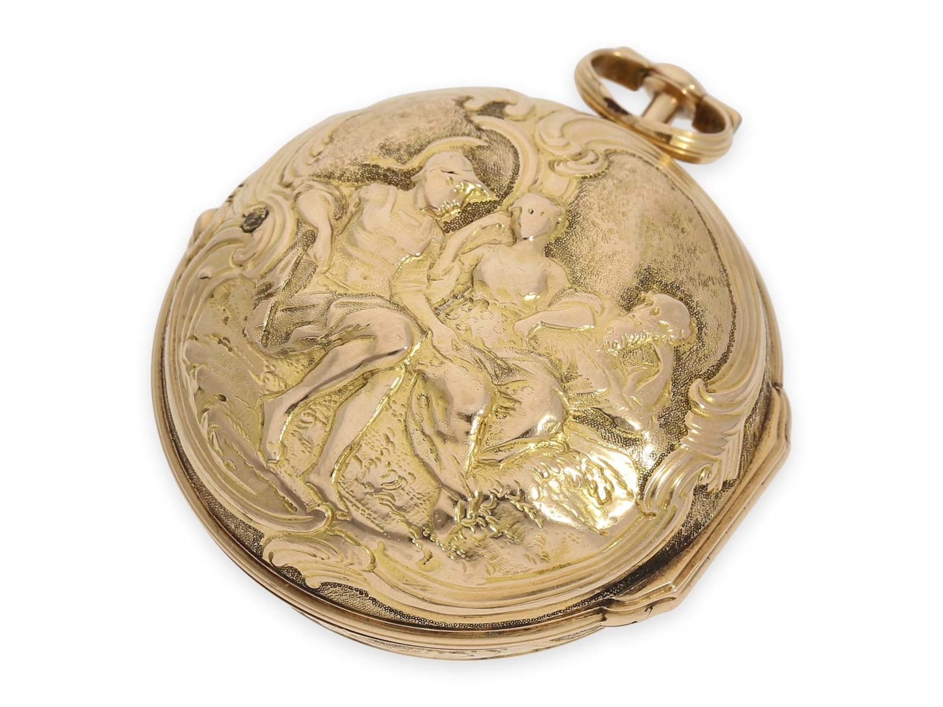 Pocket watch: early triple case gold repousse verge watch, signed Rose London, ca. 1770 - Bild 7 aus 8