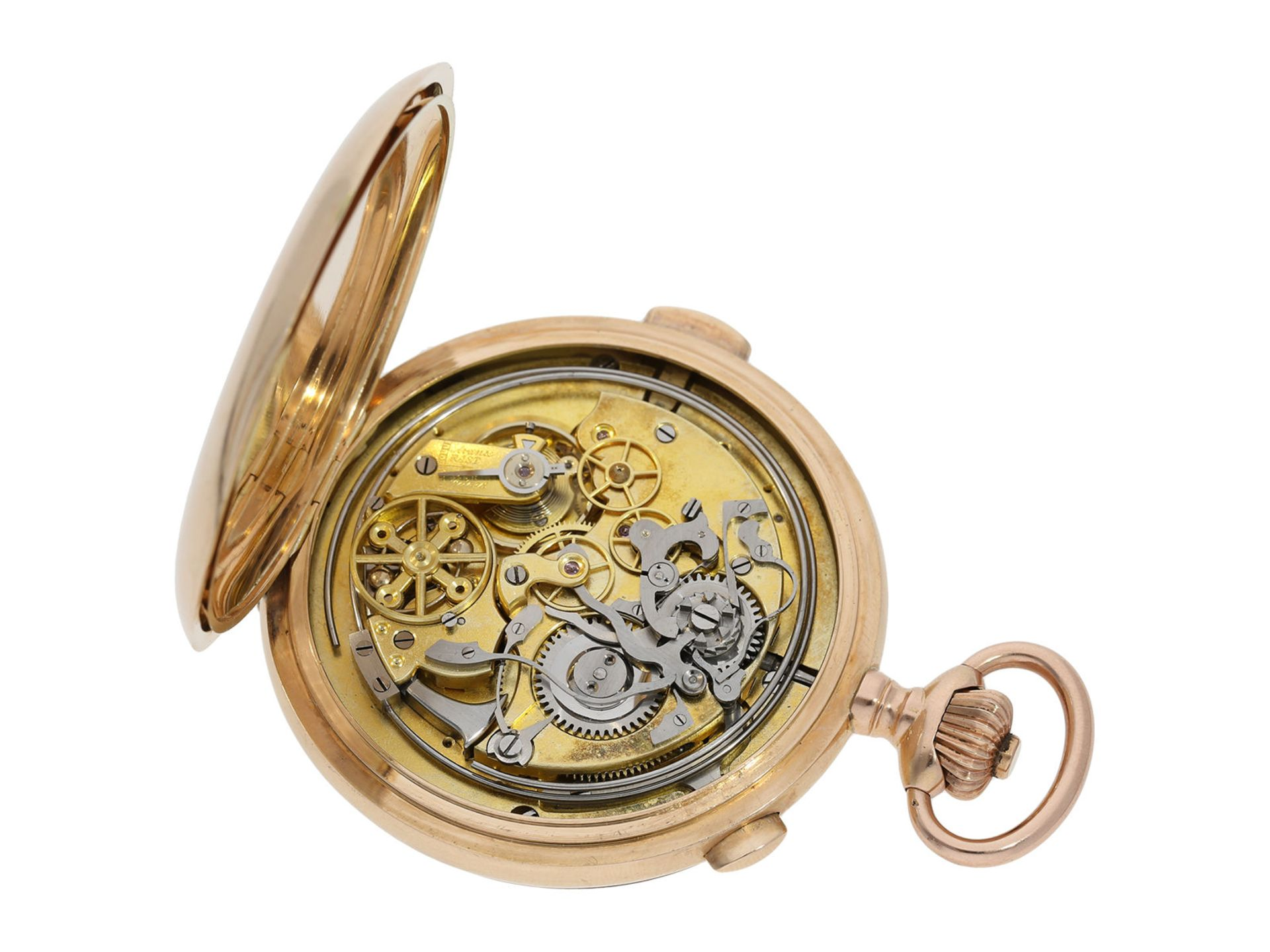 Pocket watch: especially large and heavy Swiss gold hunting case minute repeater with chronograph, - Bild 3 aus 9