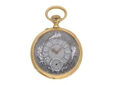 Pocket watch: technically interesting pocket watch with rare crown winding in manner of O.
