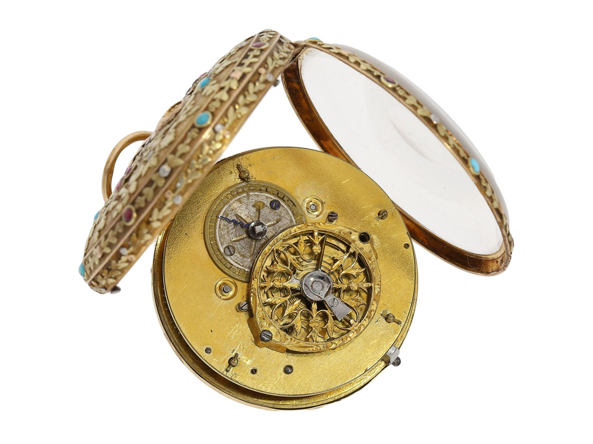 Pocket watch: museum-like 18K 4-coloured verge watch with turquoise setting and corresponding - Bild 3 aus 7