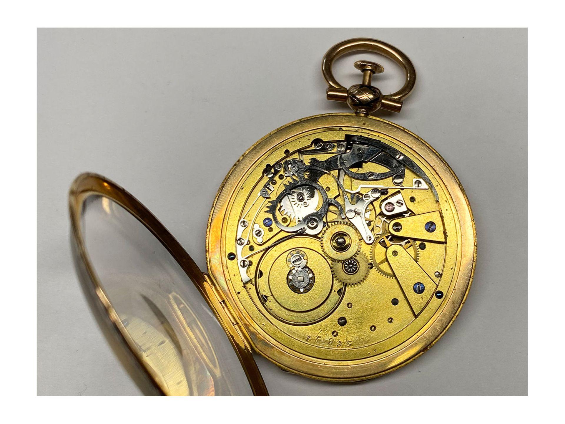 Pocket watch: magnificent gold/ enamel Lepine with rare case decoration and repeater, fine calibre - Bild 7 aus 7